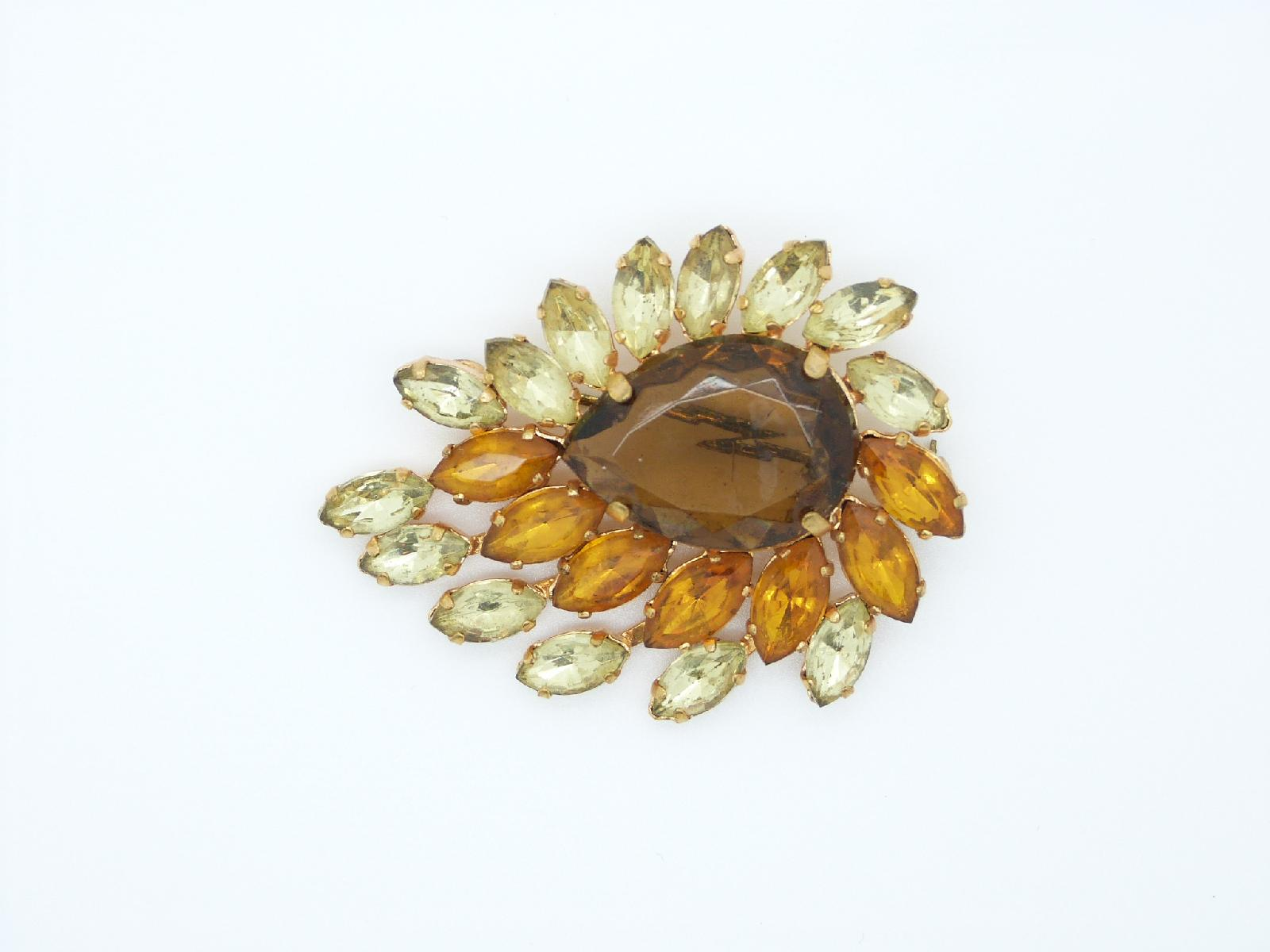 Vintage 50s Stylised Citrine Amber and Brown Goldtone Brooch 6cms Quality!