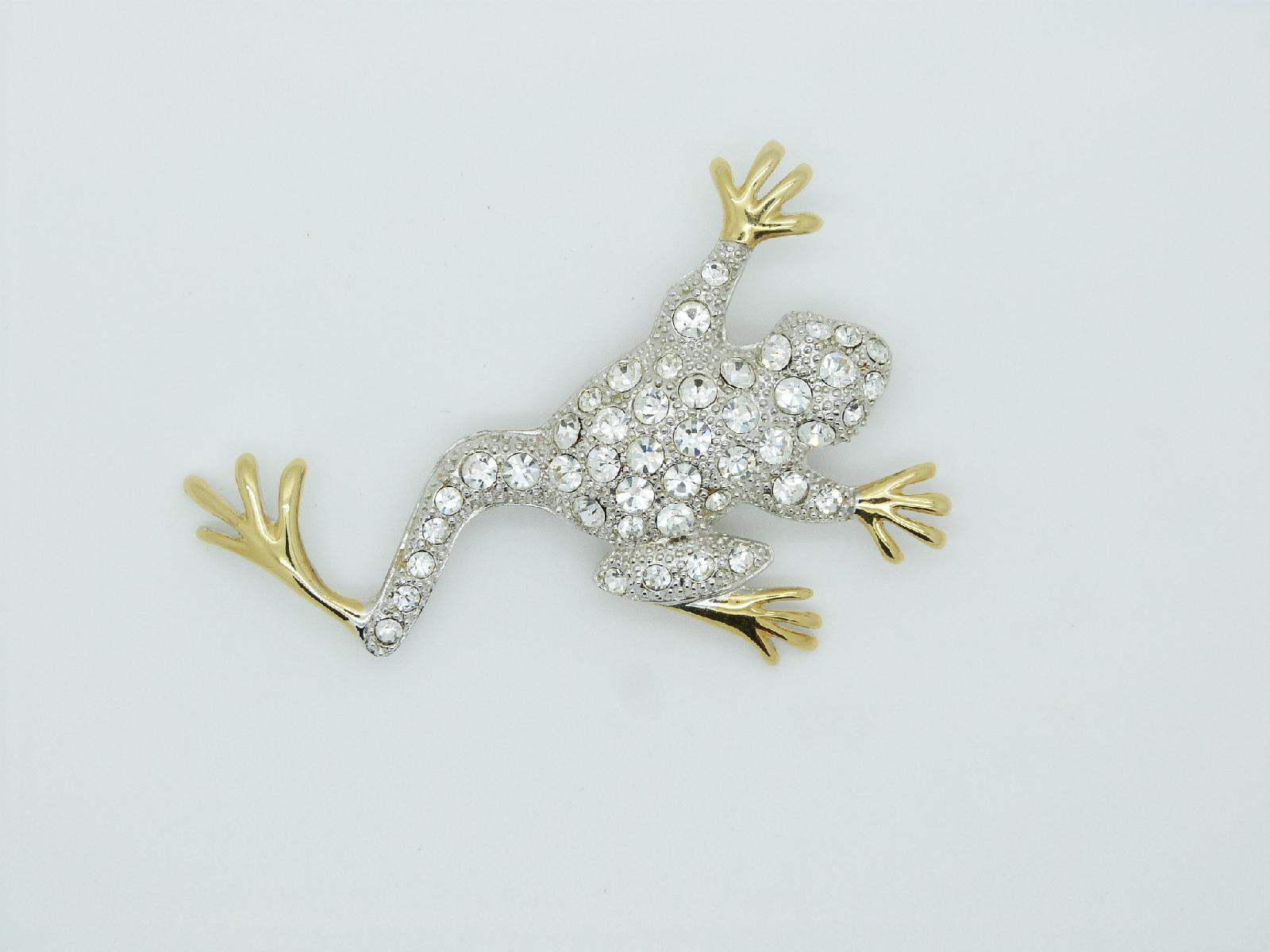 £15.00 - Vintage 80s Sparkling Crystal Diamante Quirky Goldtone Frog Brooch 8cms
