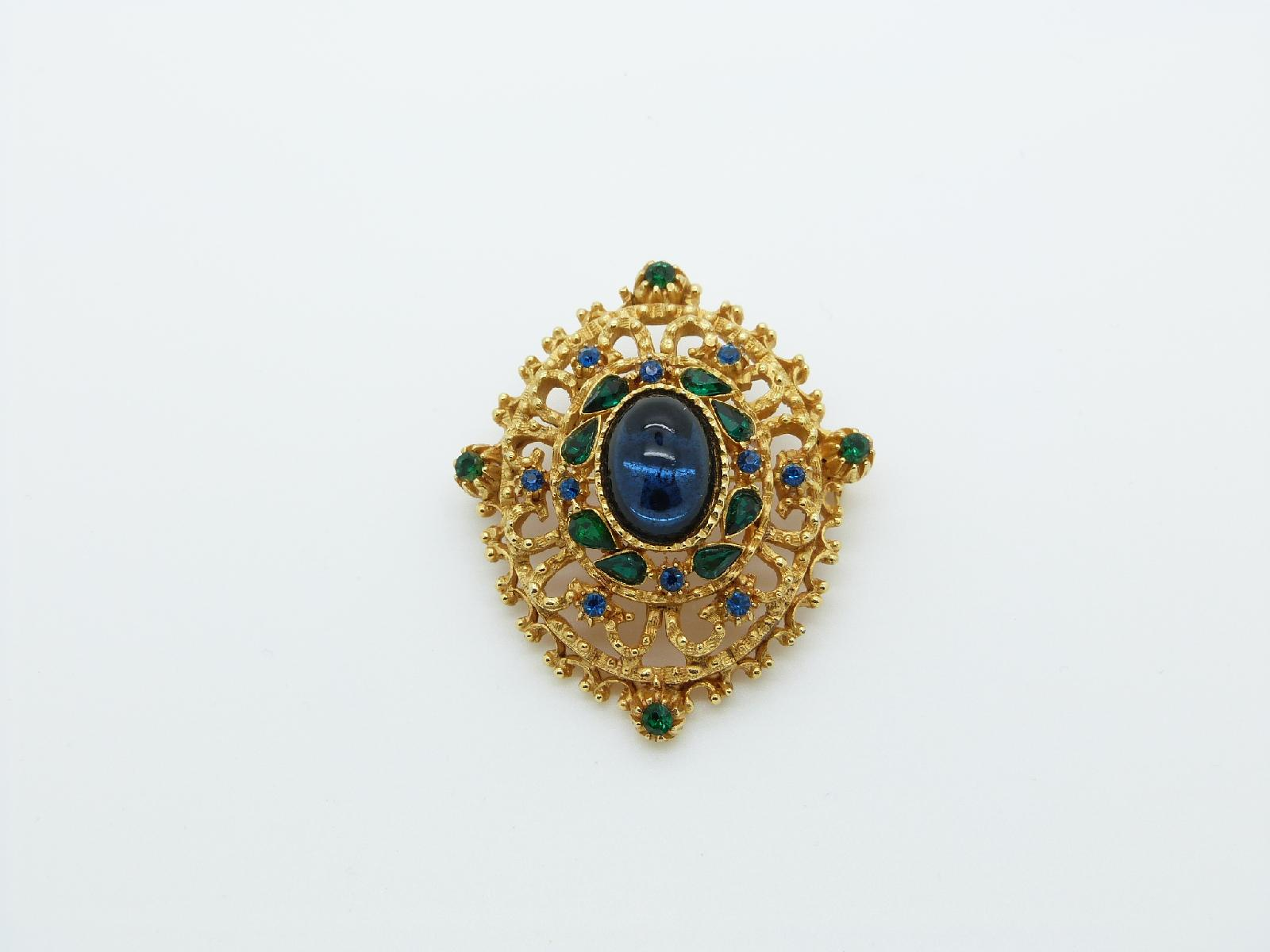 Vintage 50s Signed Sphinx Ornate Green and Blue Diamante Cabouchon Brooch