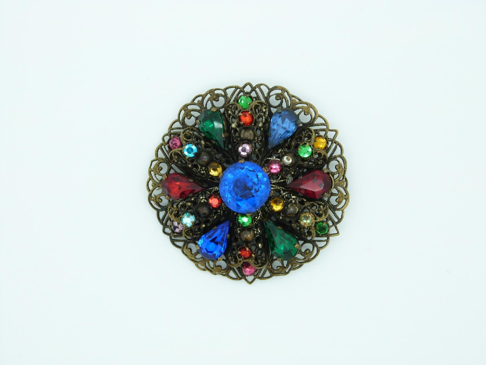 Vintage 30s Czech Filigree Round Multicoloured Diamante Paste Brooch