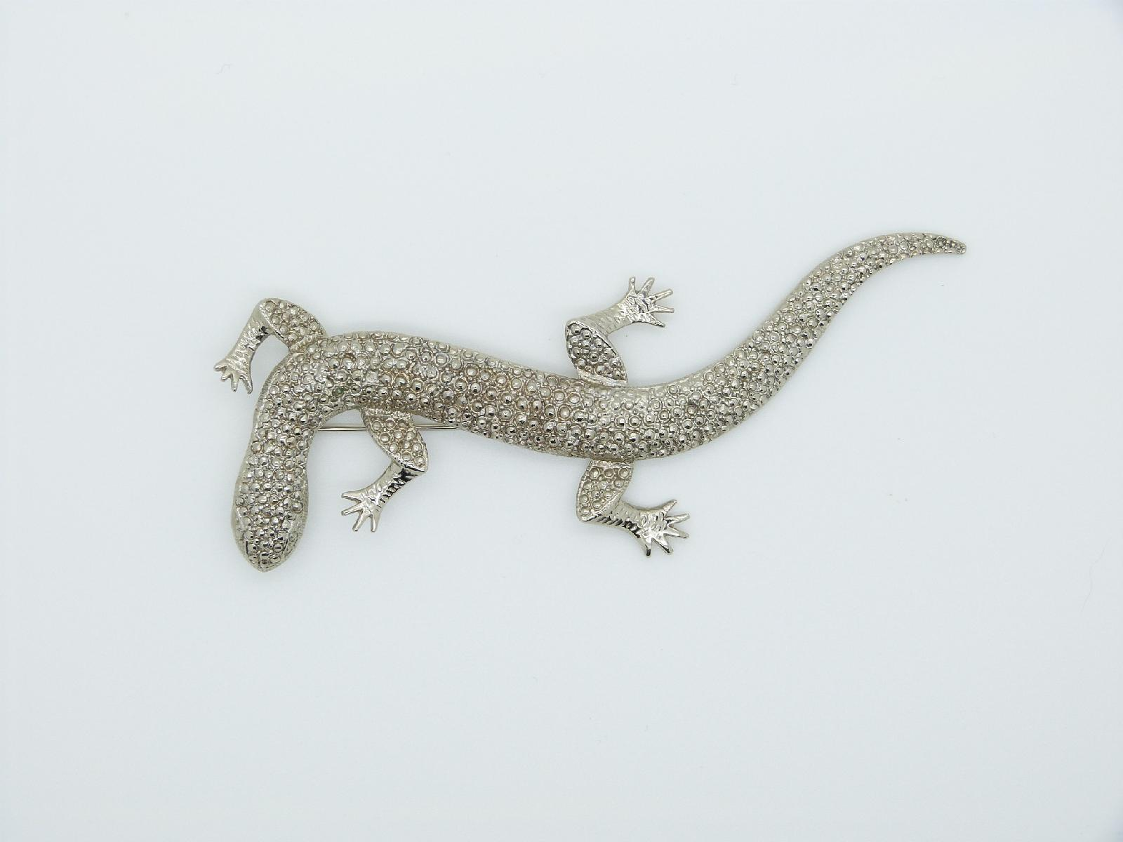 £20.00 - Vintage 50s Large Silvertone Metal Statement Lizard Brooch Amazing 12cms