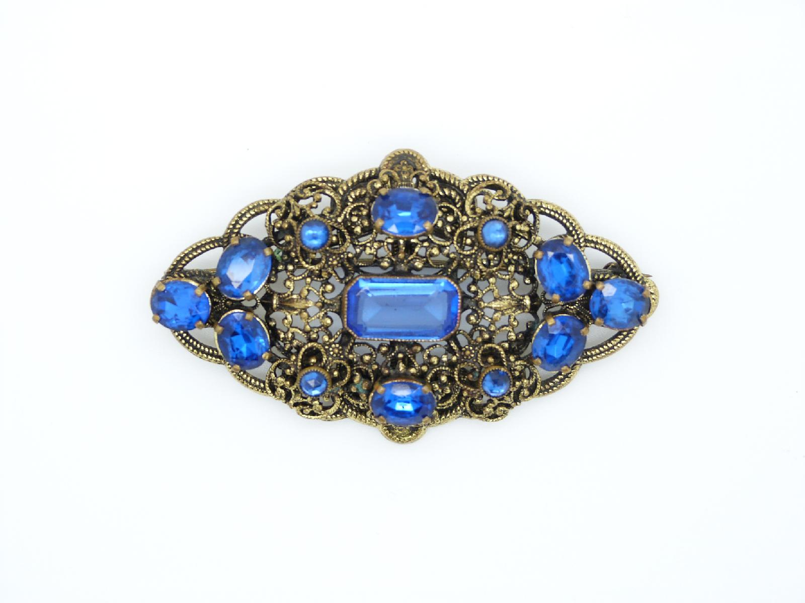 Vintage 30s Large Czech Filigree Lozenge Shape Blue Paste Stone Brooch
