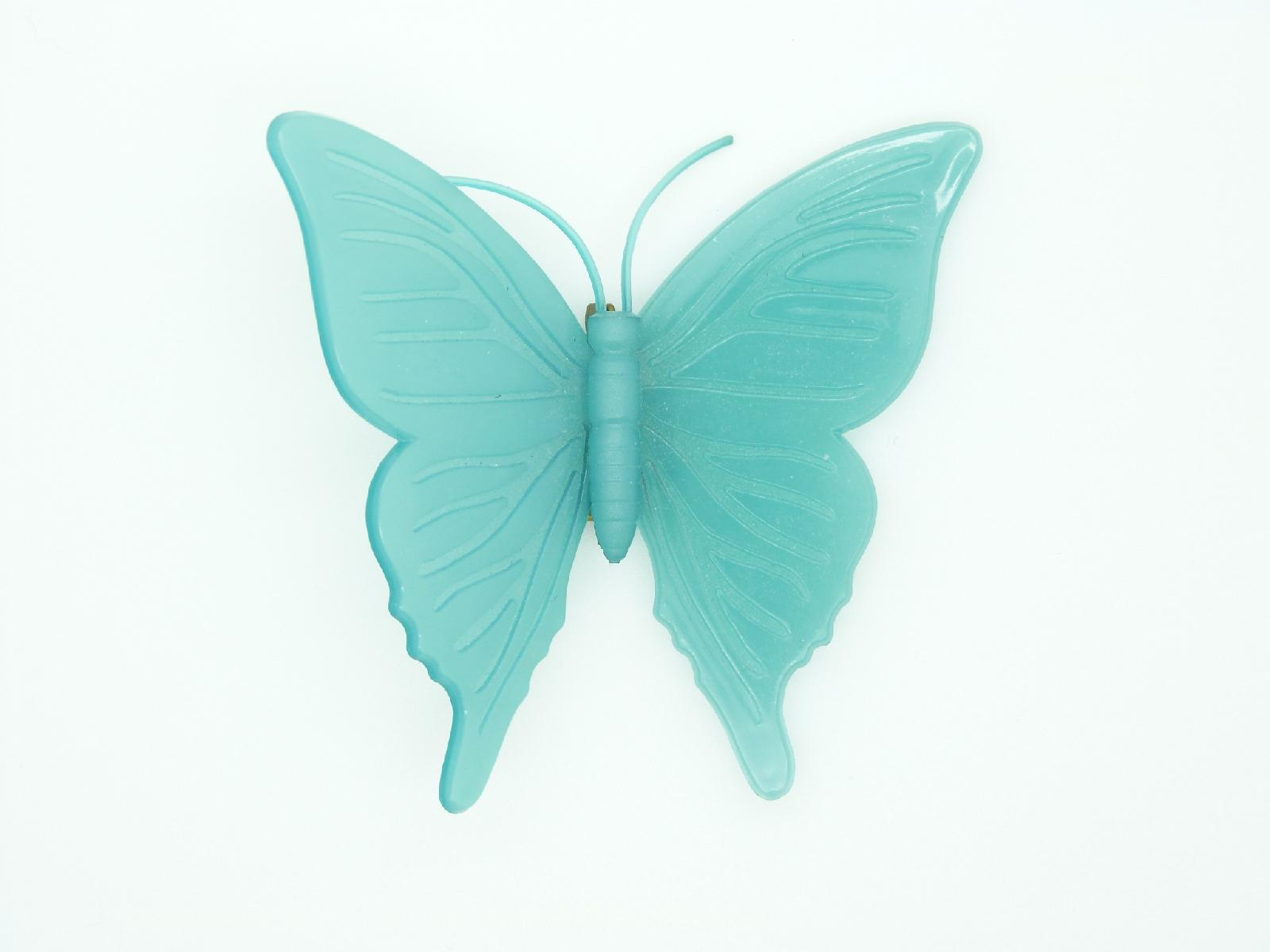 Vintage 60s Signed KD Denmark Early Plastic Teal Coloured Butterfly Brooch