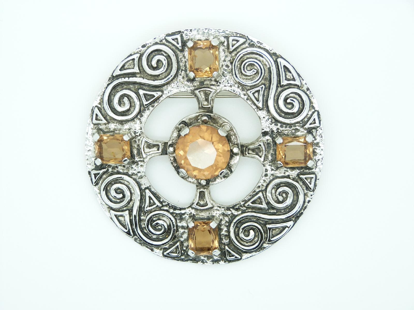 Vintage 80s Very Large Celtic Design Citrine Glass Stone Statement Brooch