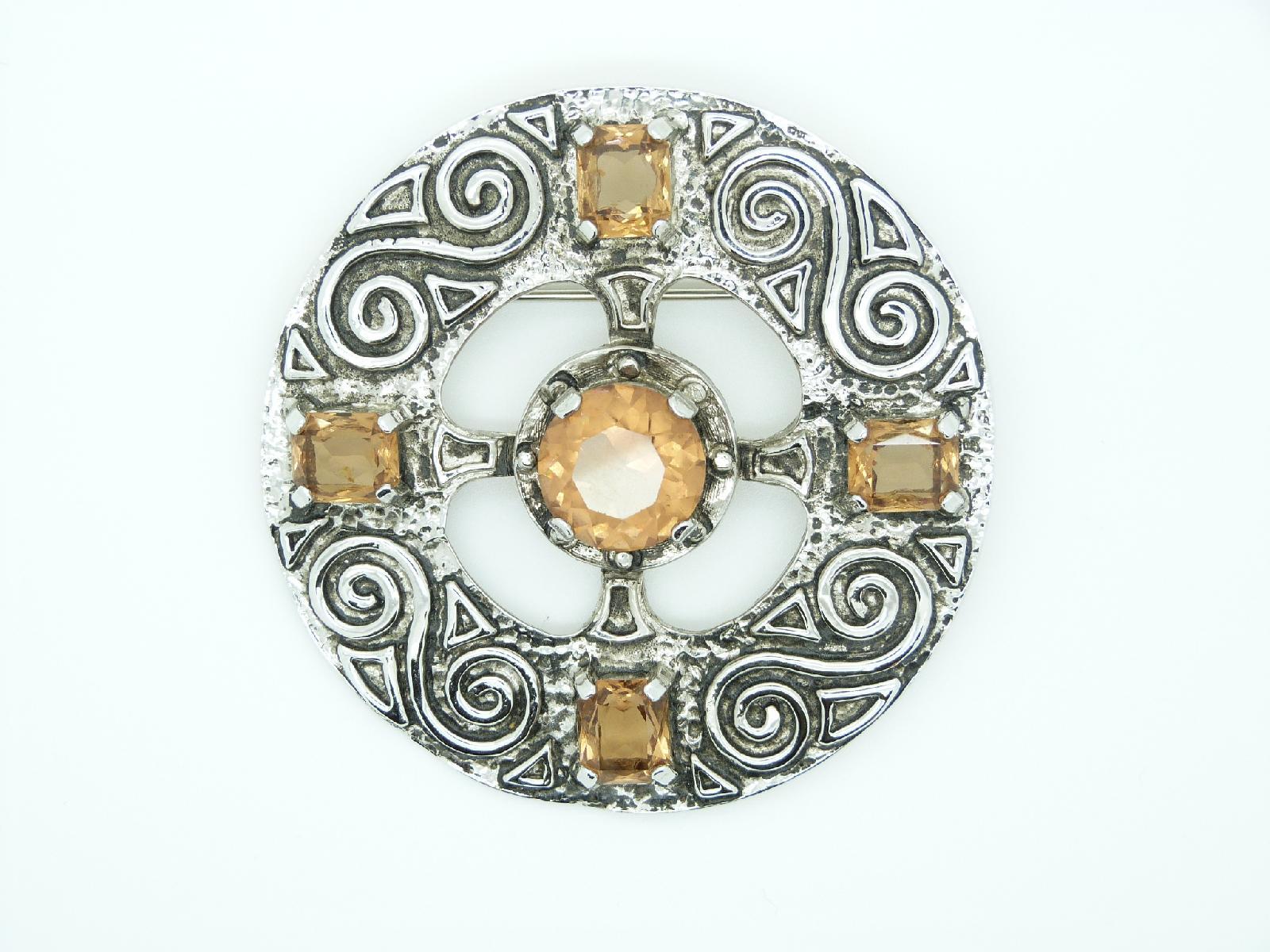 Vintage 80s Very Large Celtic Design Citrine Glass Stone Statement Brooch