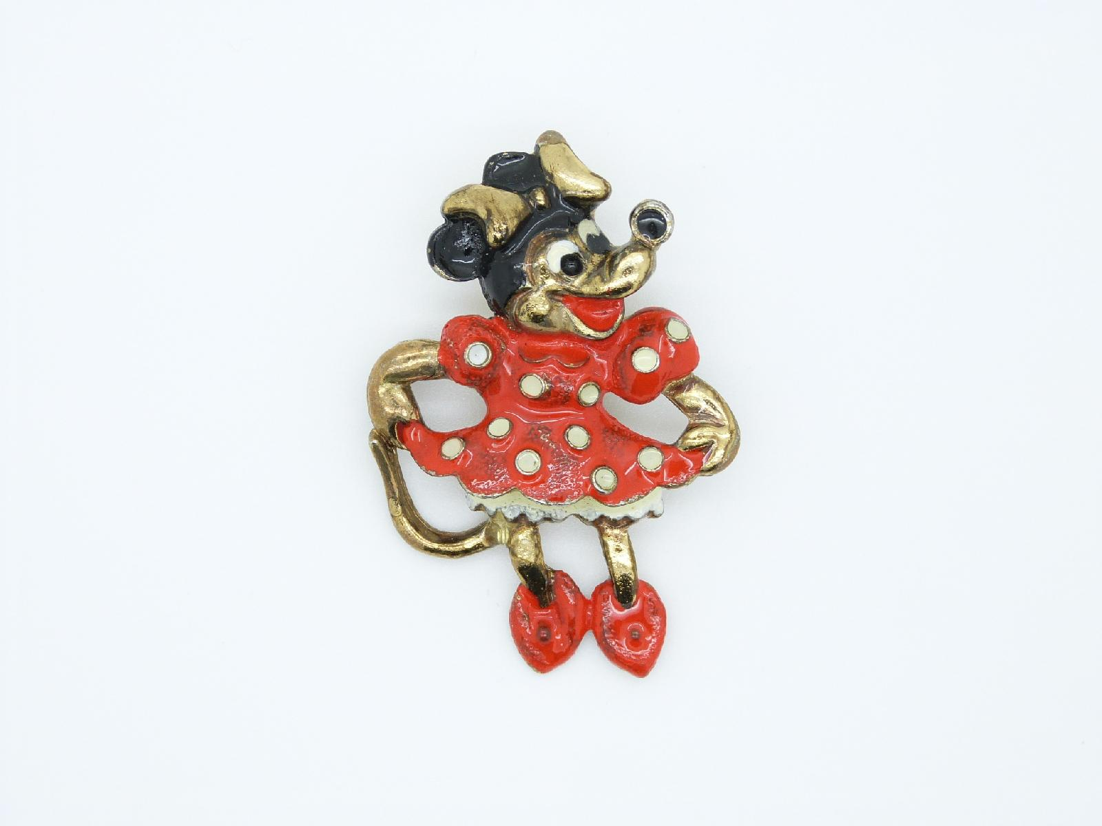 Vintage 80s Walt Disney Minnie Mouse Enamel Brooch Super Cute!