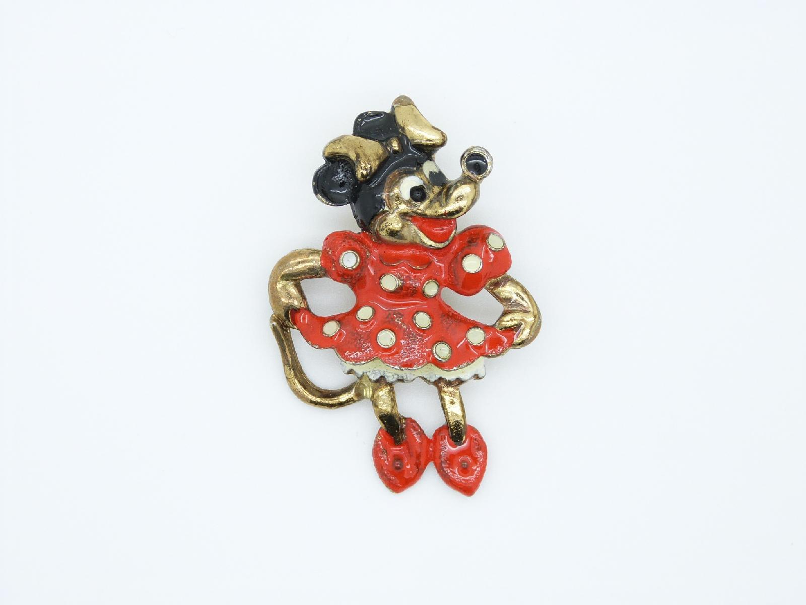 £12.00 - Vintage 80s Walt Disney Minnie Mouse Enamel Brooch Super Cute!