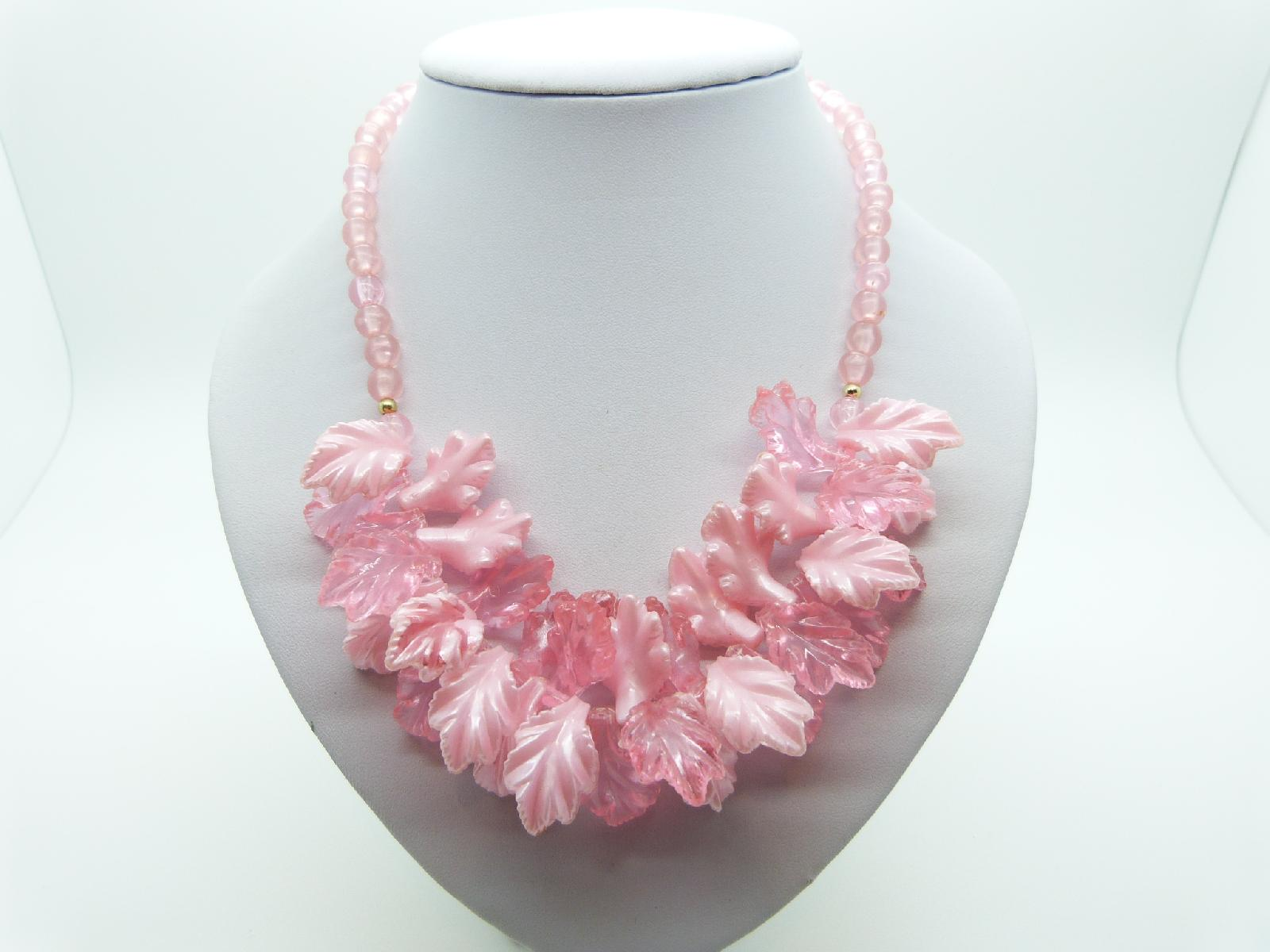 £25.00 - Vintage 60s Stunning Two Tone Pink Lucite Bead Cluster Garland Necklace