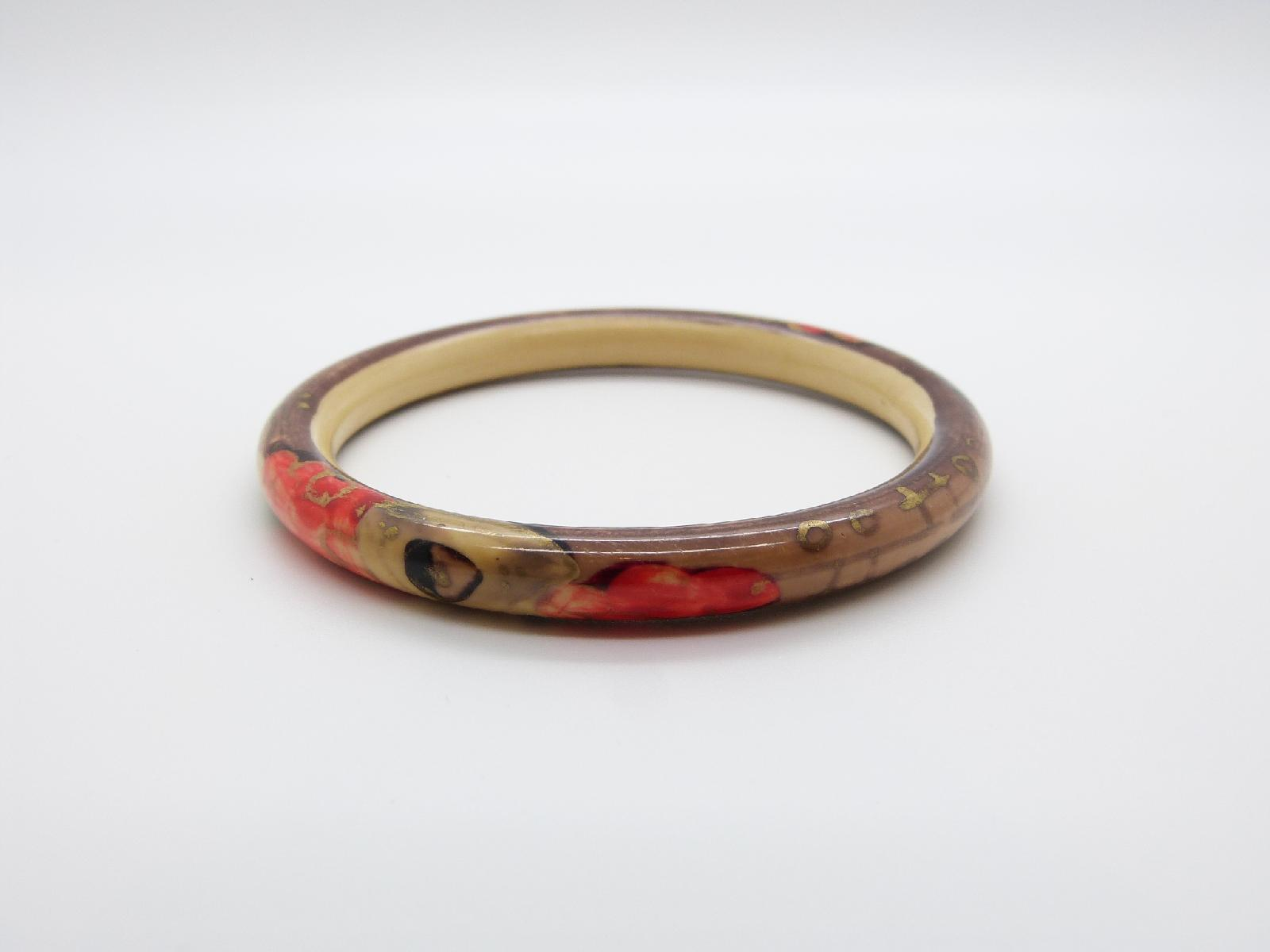 Vintage 30s Red Brown and Cream Floral Design Armlet Flapper Bangle