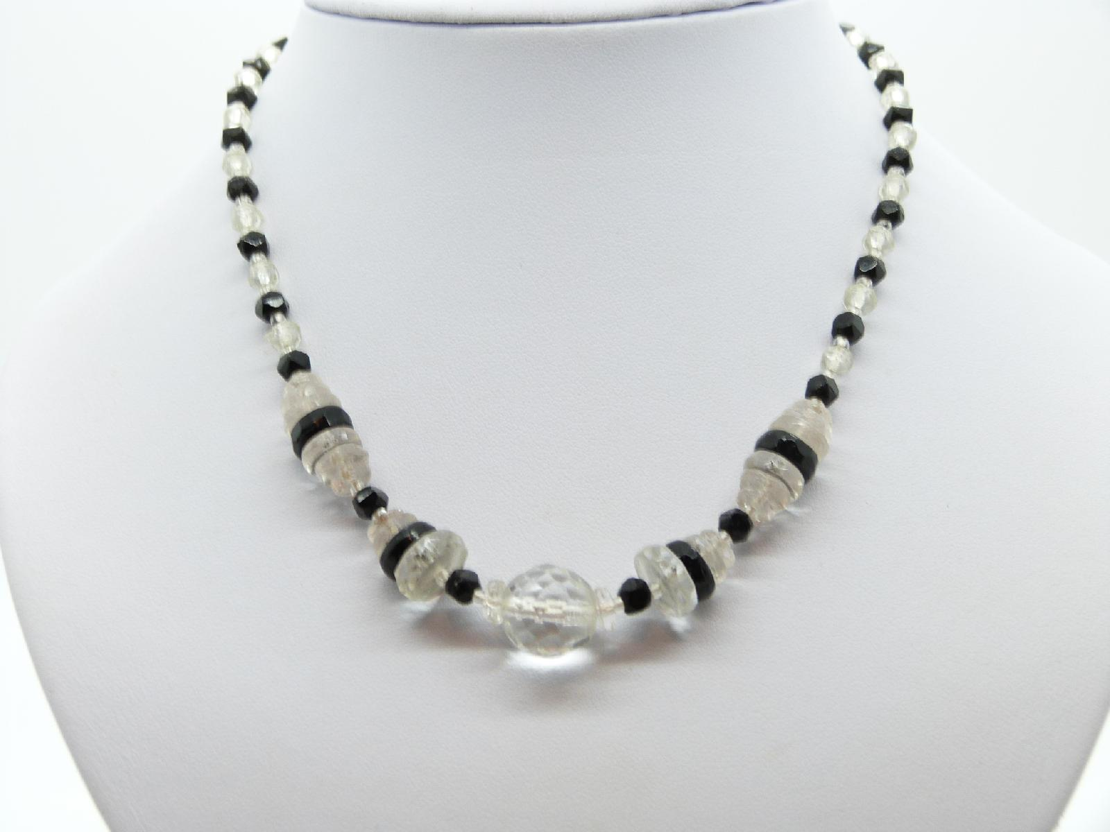 Vintage 30s Geometric Art Deco Black and Clear Glass Crystal Bead Necklace
