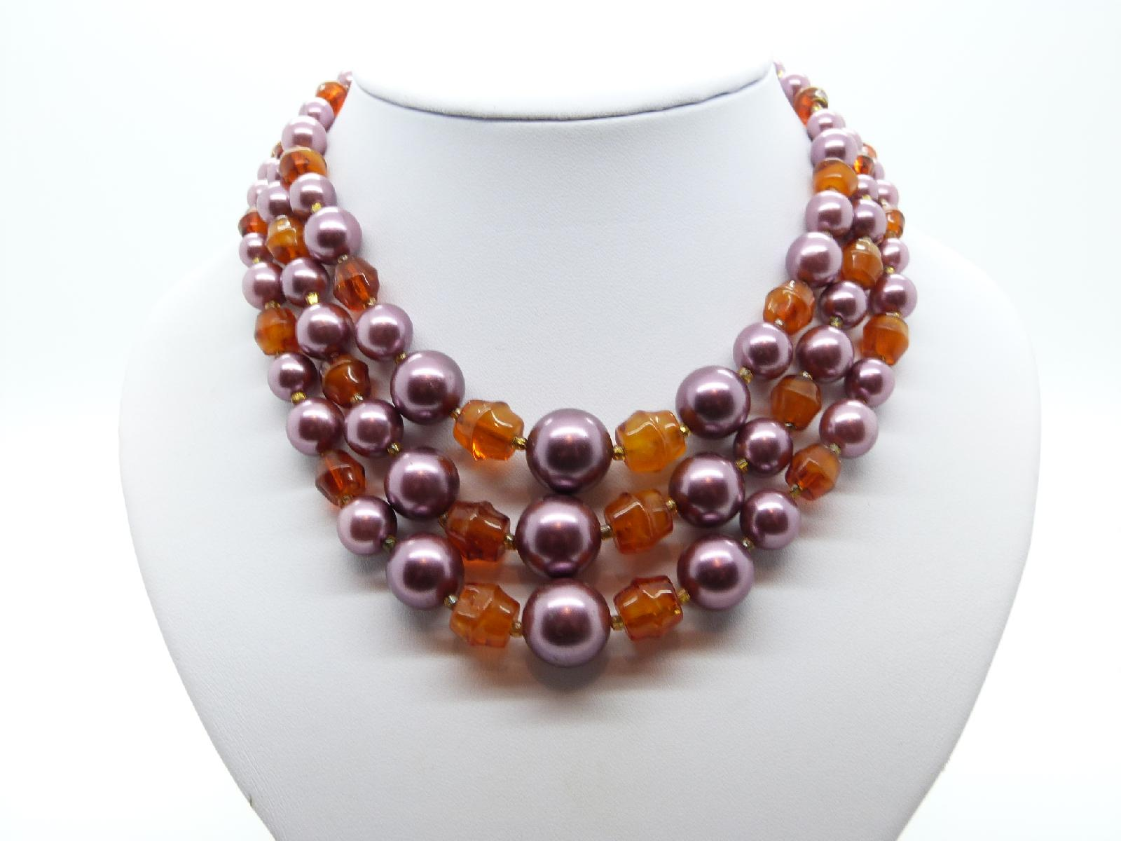 £24.00 - Vintage 50s Three Row Amber Glass and Purple Glass Faux Pearl Bead Necklace