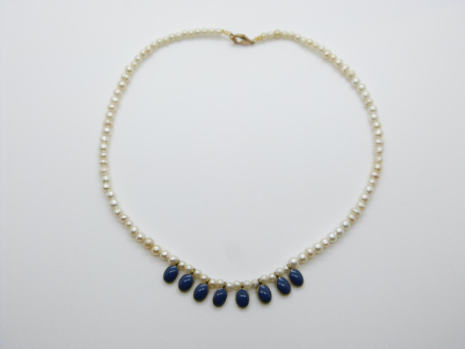 Vintage Redesigned 50s Glass Faux Pearl Bead Blue Enamel Dropper Necklace