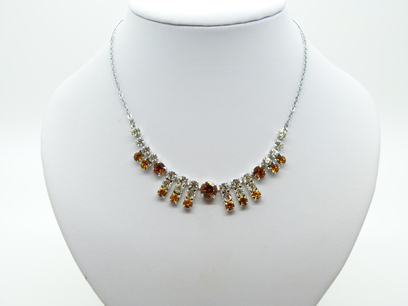 Vintage 50s Pretty Amber and Clear Diamante Drop Silvertone Chain Necklace
