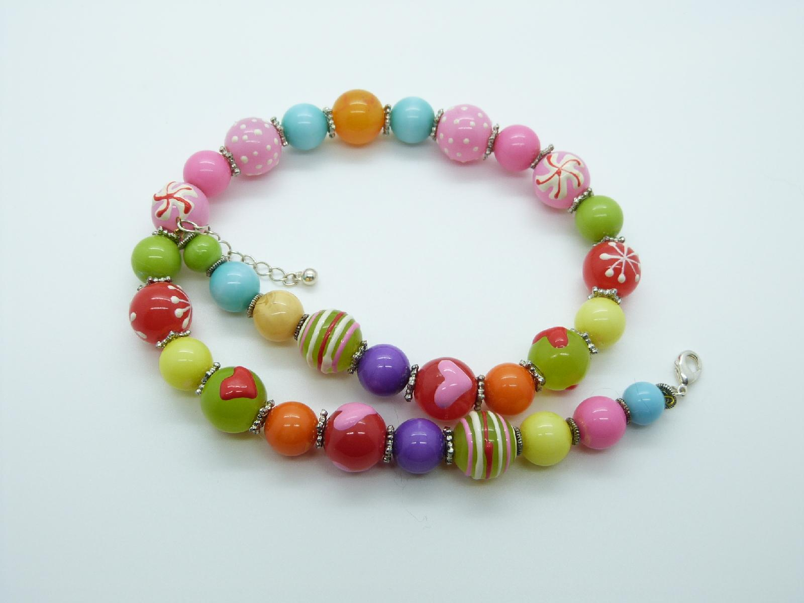 £16.00 - Stunning Multicoloured Plastic and Glass Bead One Off Necklace Unique!