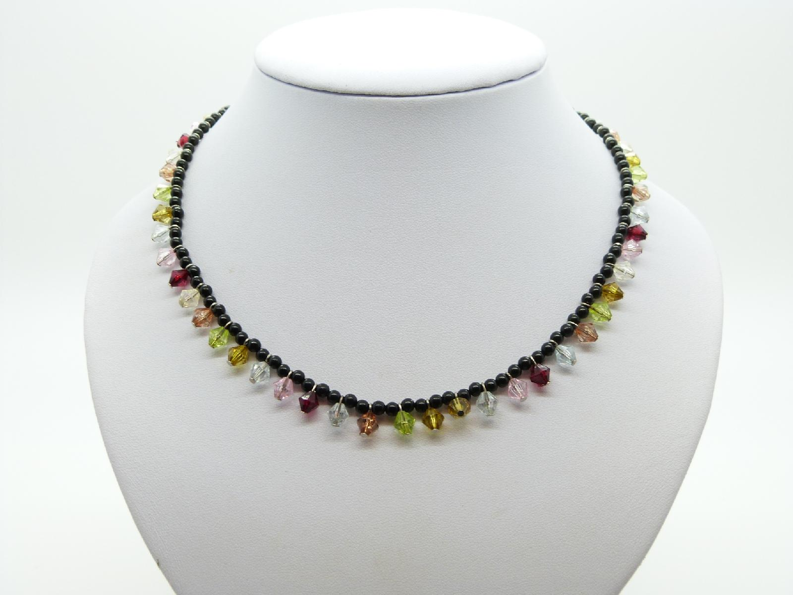 £12.00 - Vintage Redesigned 50s Black Glass Bead Multicoloured Lucite Drop Necklace
