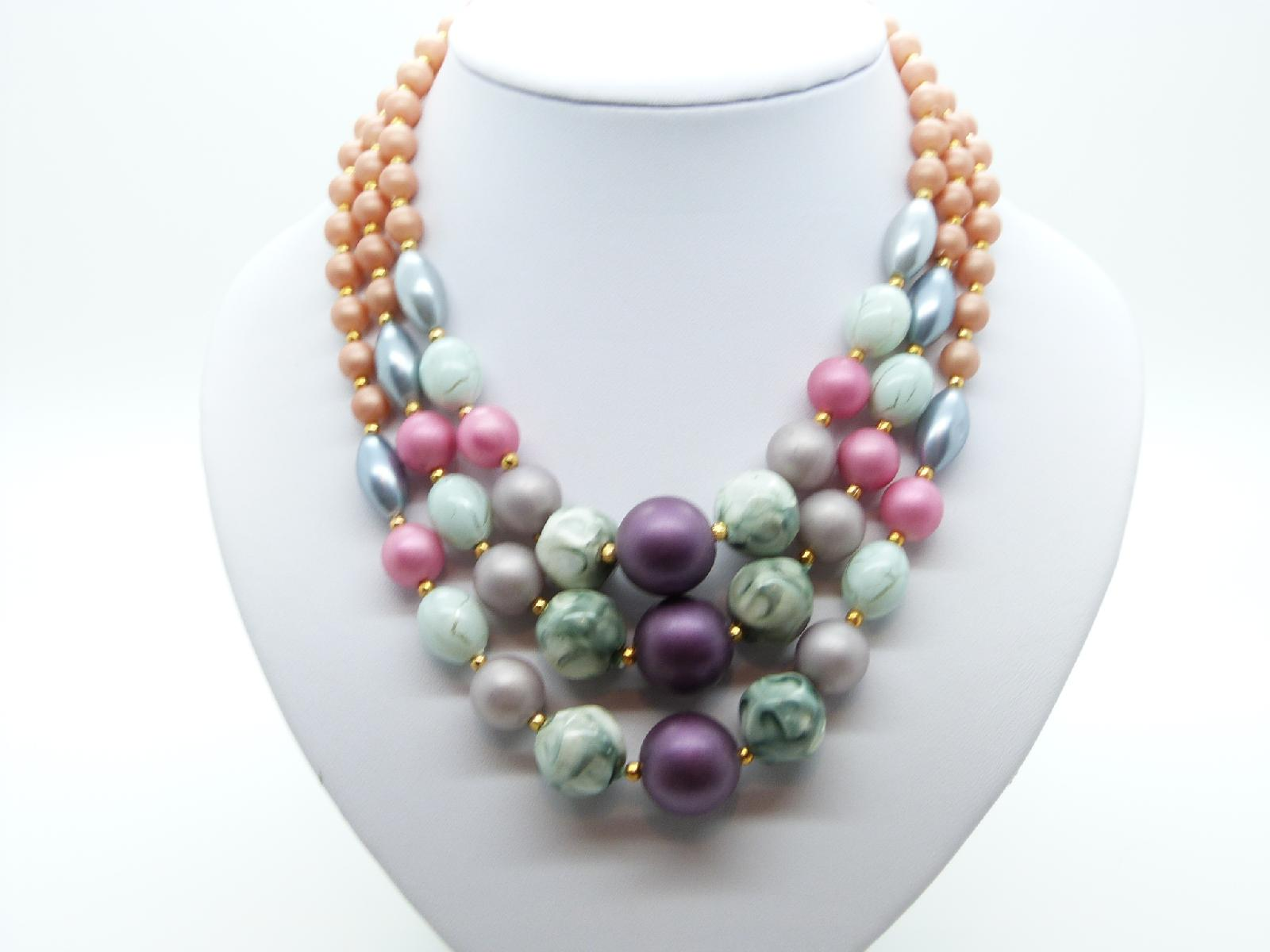 £15.00 - Vintage 50s Chunky Three Row Multicoloured Lucite Bead Necklace