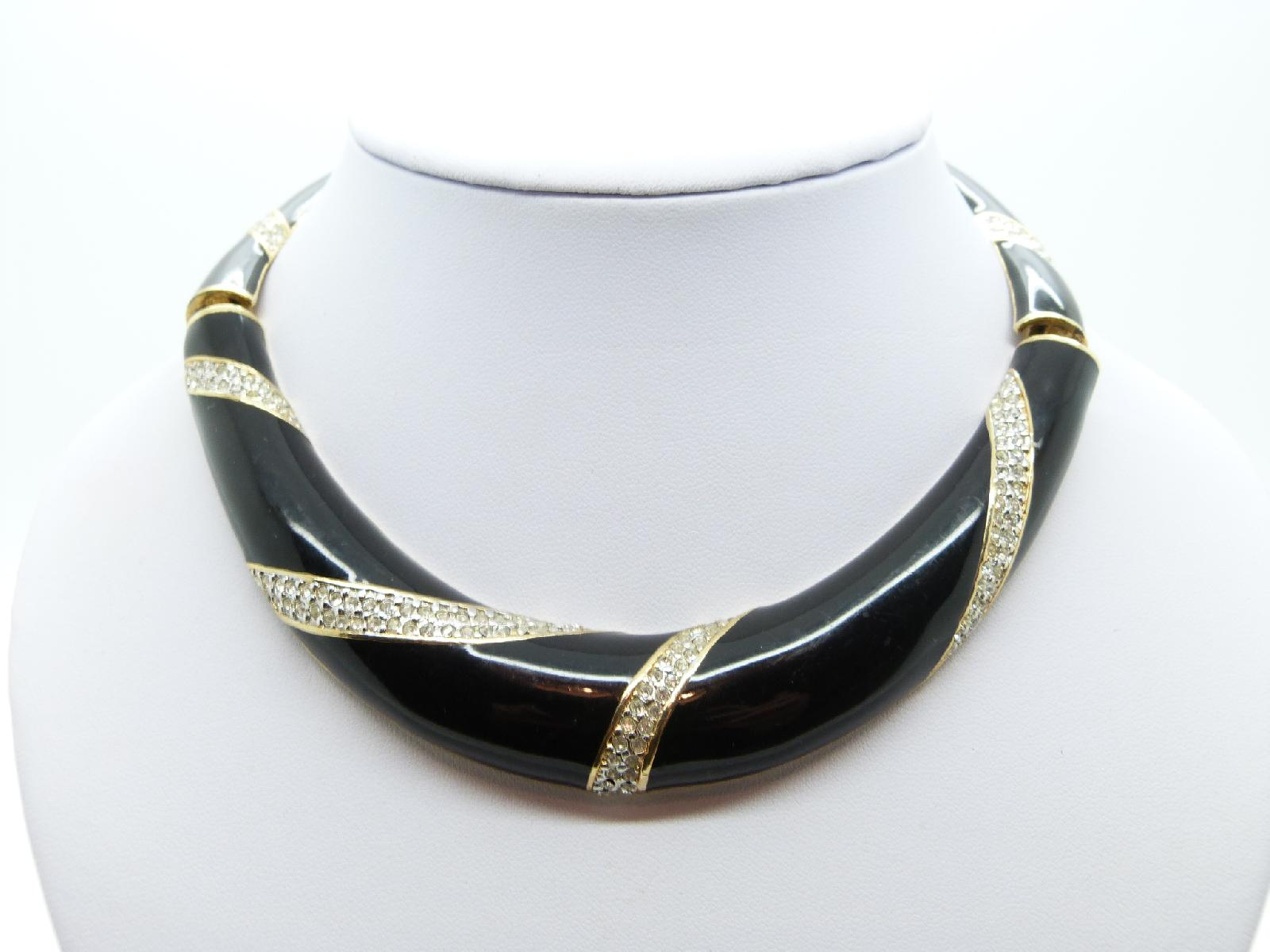Vintage 80s Black Enamel and Diamante Goldtone Collar Statement Necklace