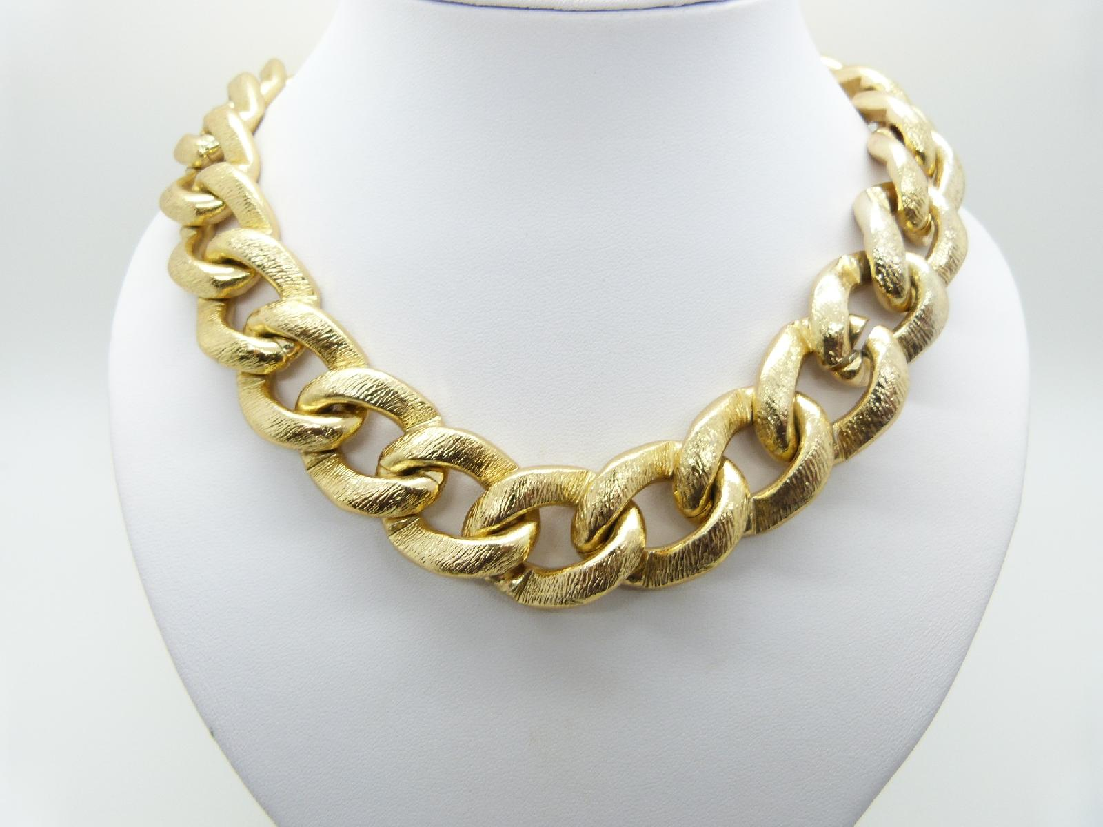 £30.00 - Vintage 80s Oversized Chunky Goldtone Chain Link Statement Necklace Heavy 76cms