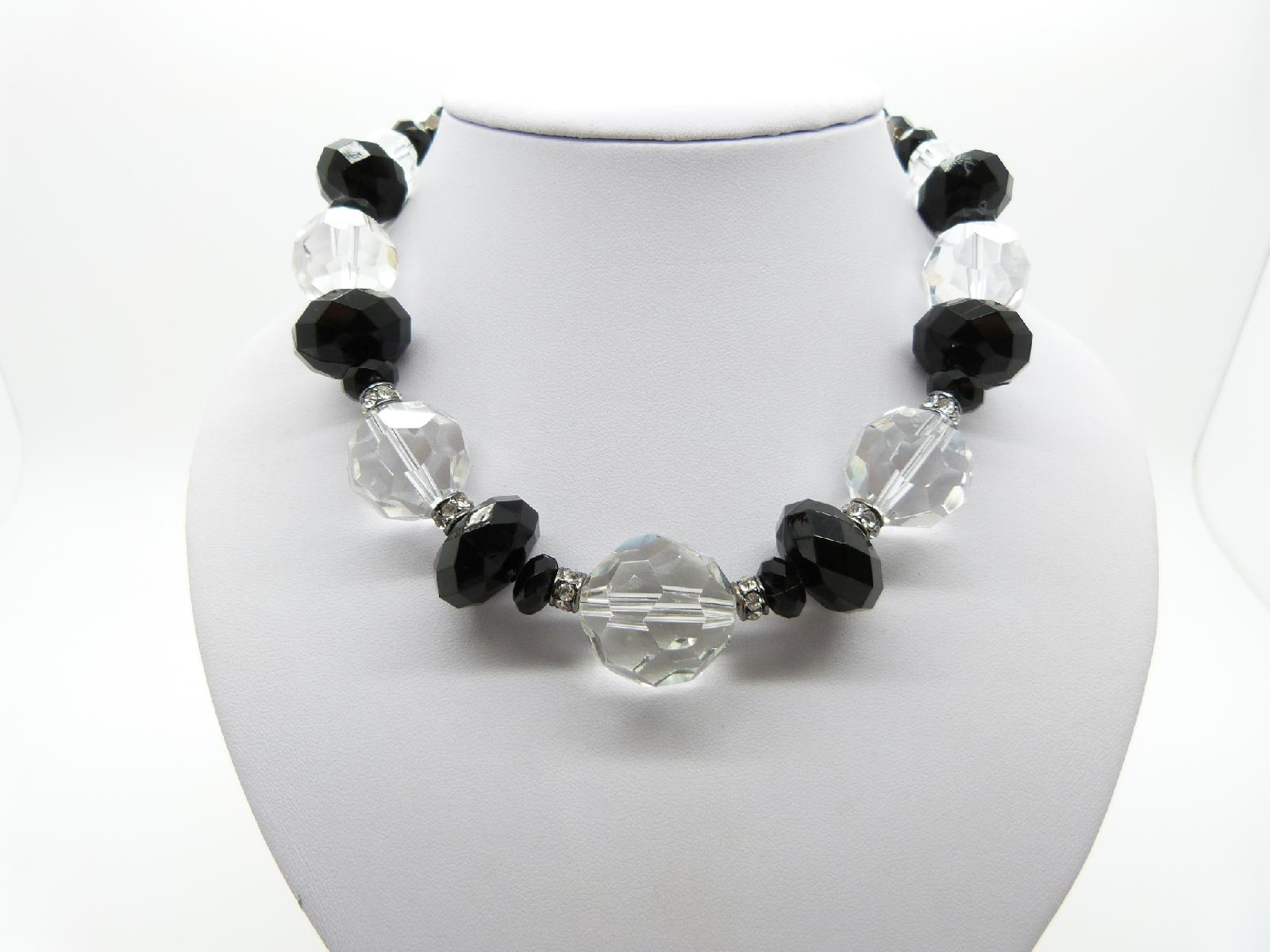 Vintge 50s Style Signed M&S Clear Glass Crystal Bead and Black Plastic Bead Necklace 46cms