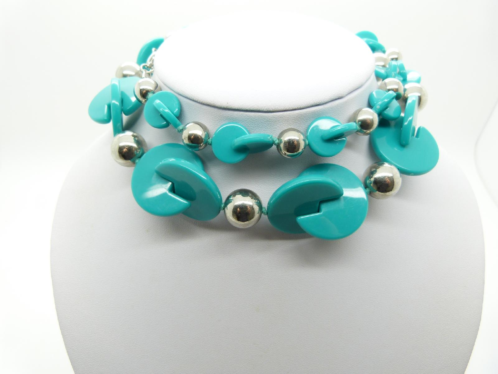 Unusual and Stylish Turquoise and Silver Plastic Bead Long Necklace 76cms