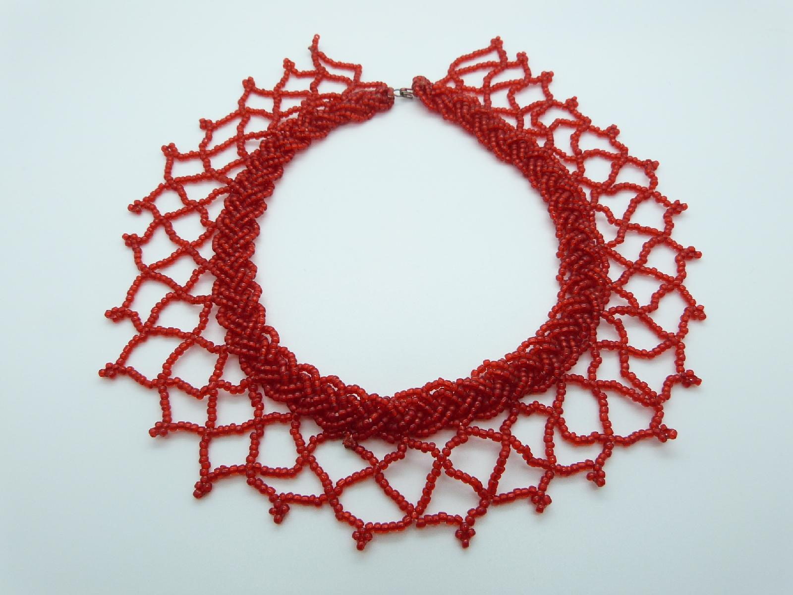 £20.00 - Vintage 50s Wide Red Glass Seed Bead Knitted Collar Necklace Amazing 47cms