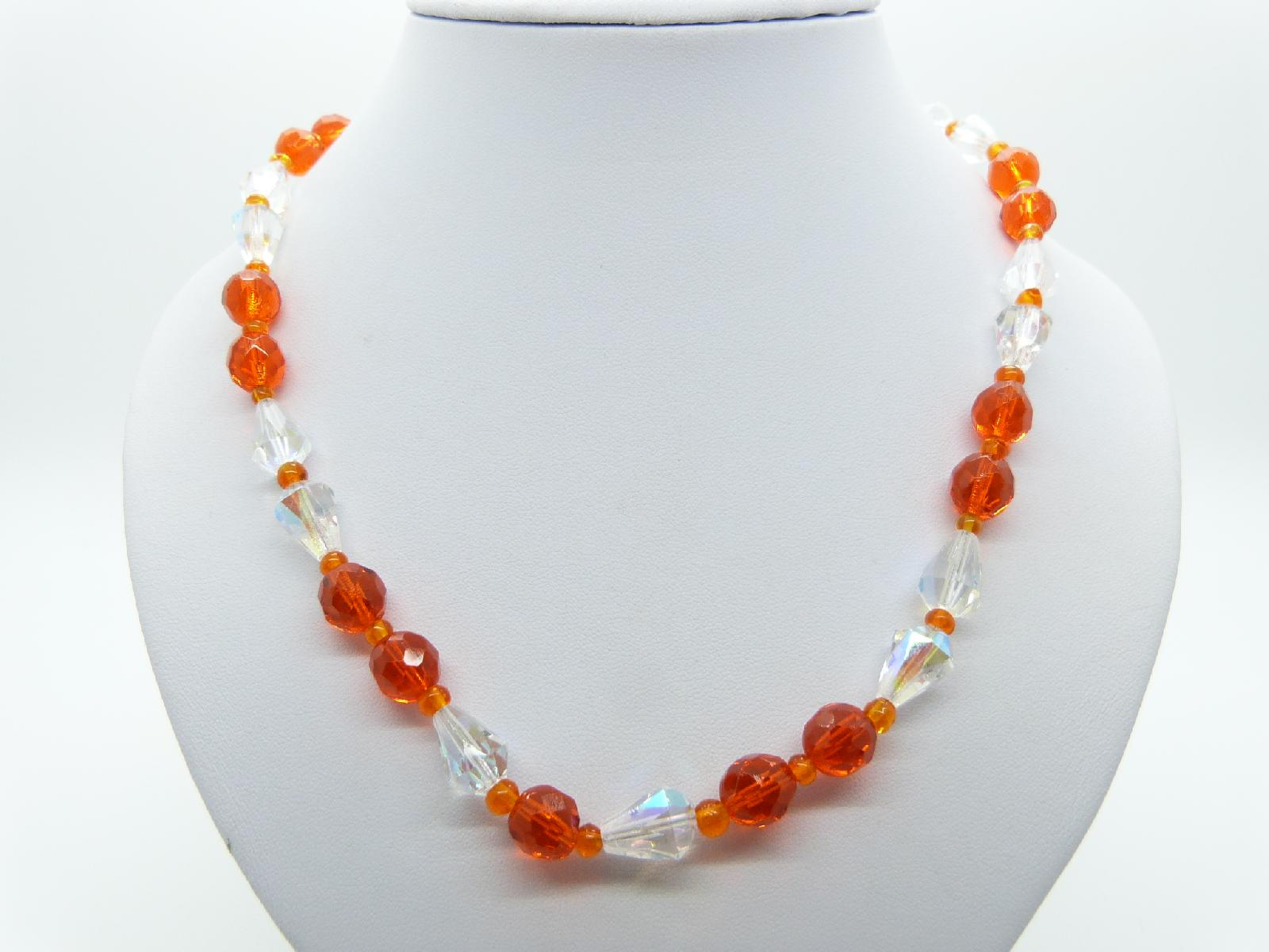 Vintage 50s Orange and AB Crystal Glass Bead Necklace Pretty Diamante Clasp 53cms