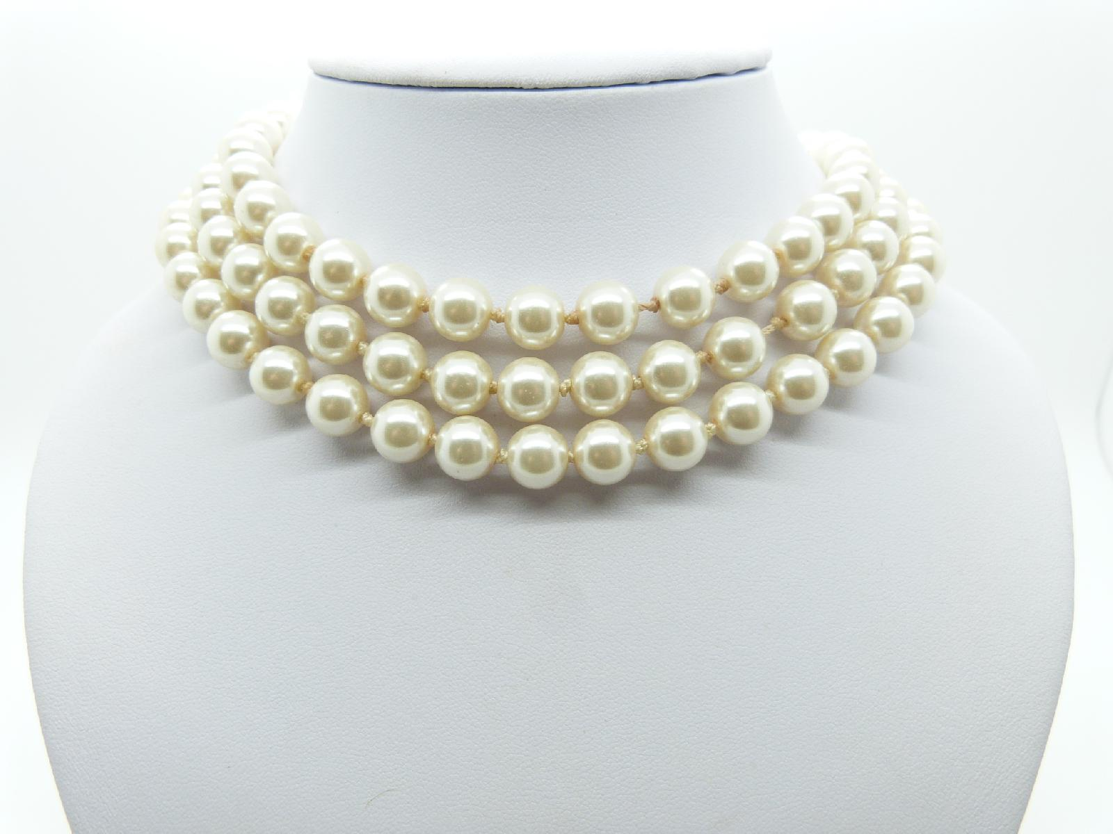 £23.00 - Vintage 80s Heavy Faux Glass Pearl Bead Endless Necklace 120cms Quality!