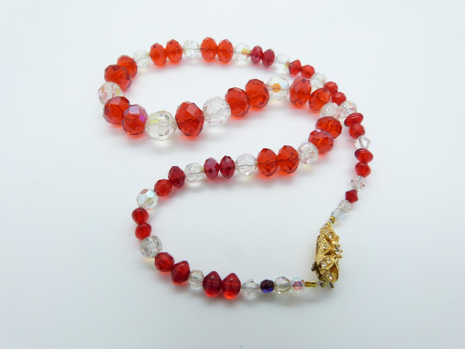 £13.00 - Vintage Redesigned 1950s Red and Clear Crystal Glass Bead Necklace Fancy Clasp 47cms