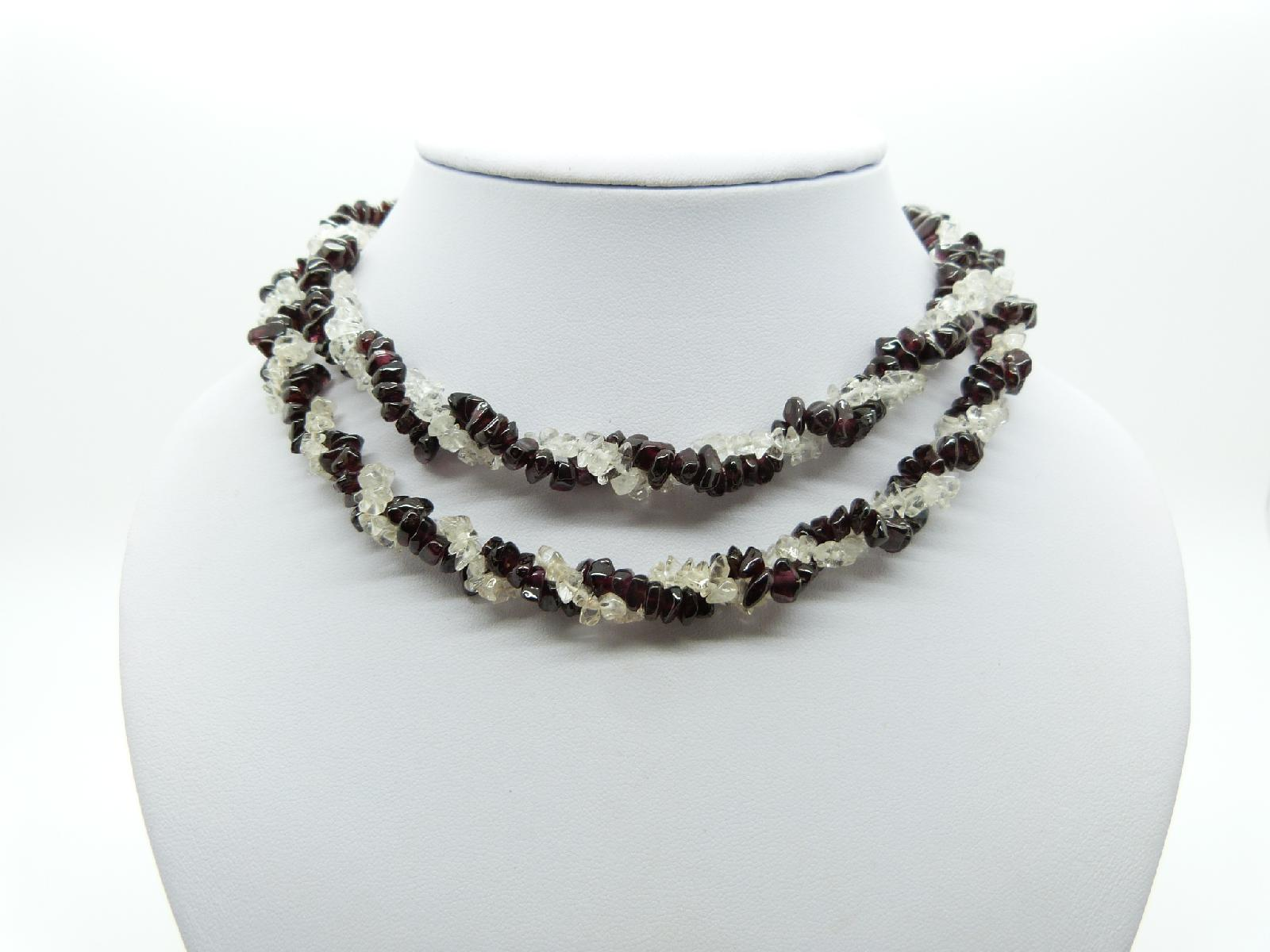 Vintage 80s Real Garnet and White Quartz Bead Two Row Twist Necklace 84cms