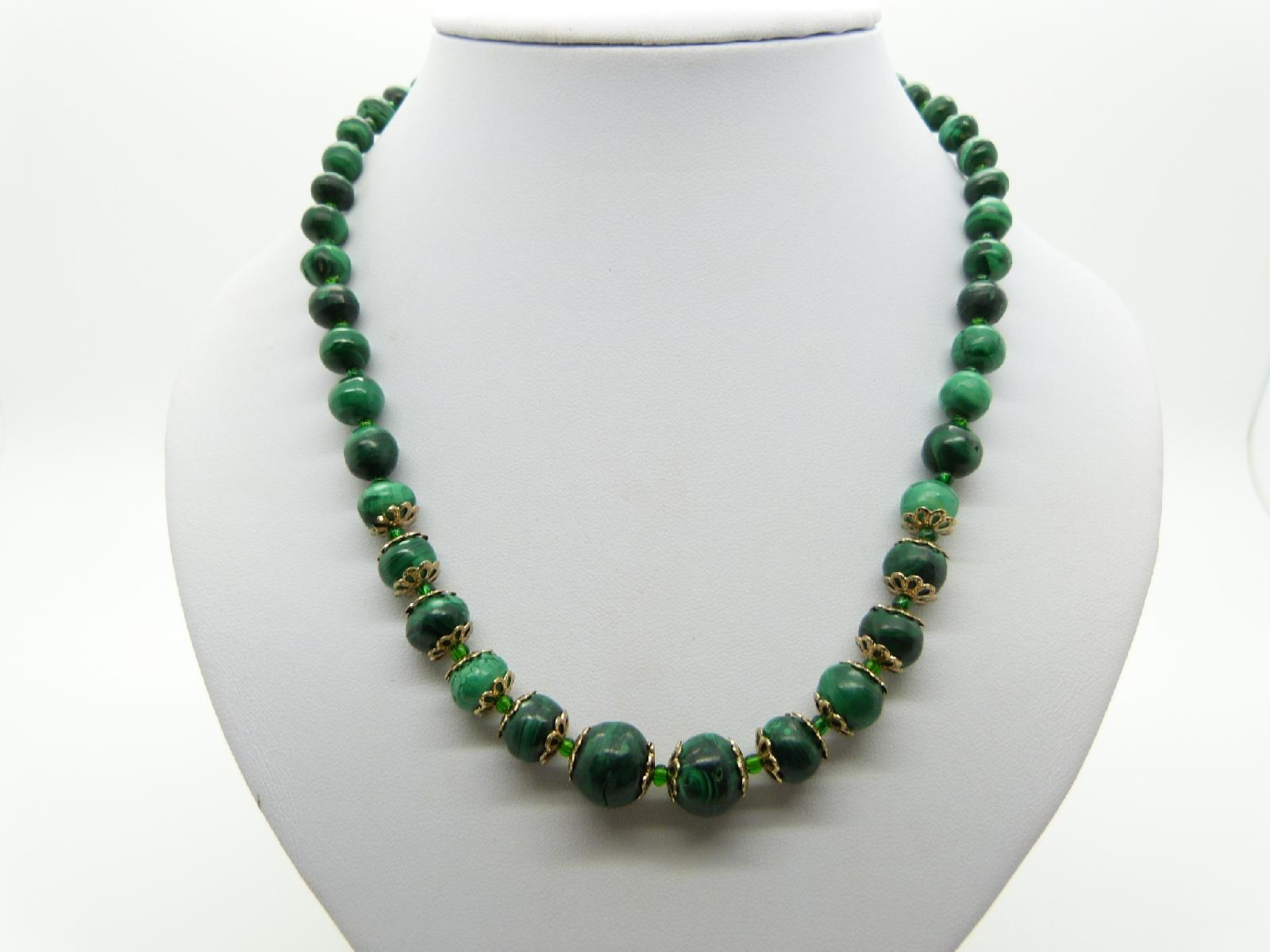 Vintage 70s Genuine Malachite Graduating Bead Necklace Stunning! 48cms