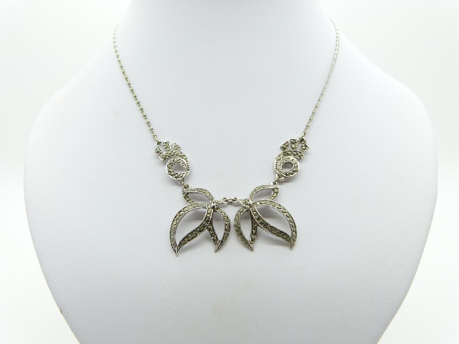£15.00 - Vintage 30s Beautiful Marcasite Floral Drop Design Silvertone Necklace 40cms