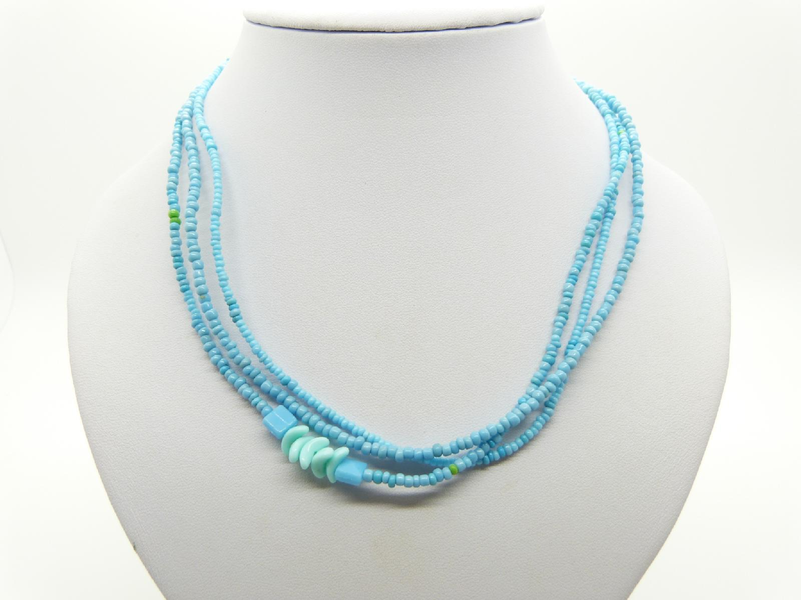 Vintage Redesigned 1950s Three Row Turquoise Blue Glass Seed Bead Necklace 48cms