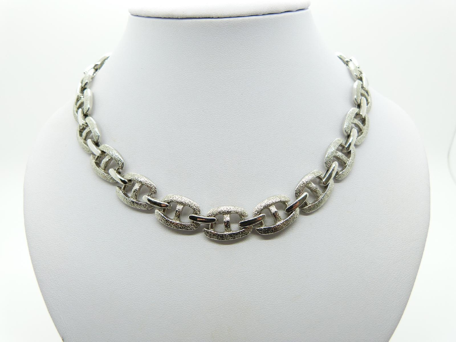 Vintage 60s QualityTextured Fancy Link Modernist Silvertone Necklace 45cms