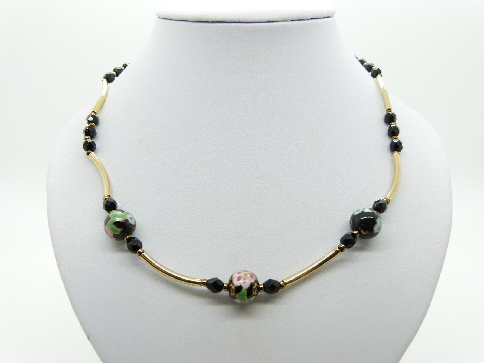 Vintage Redesigned 1950s Blac Murano Glass Flower Bead Gold Link Necklace Unique 50cms