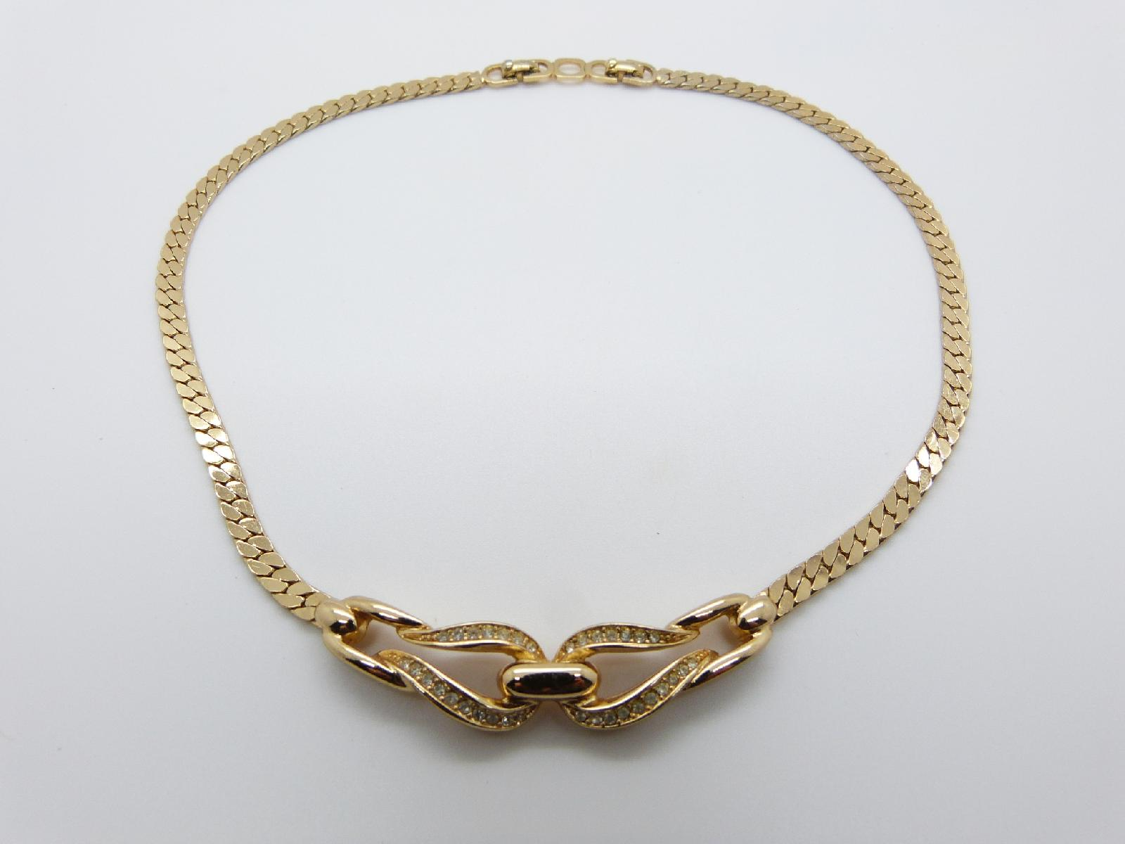 Vintage 80s Signed Christian Dior Pave Set Crystal Gold Plated Necklace Fab