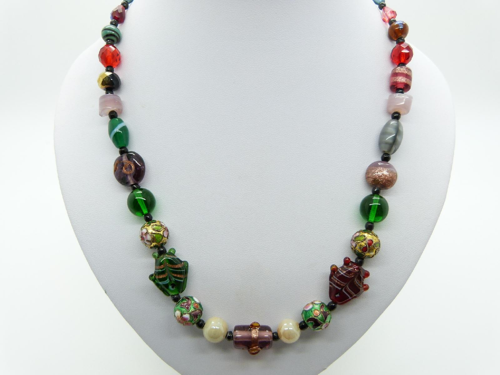 £24.00 - Vintage Redesigned Unusual Multicoloured Murano Glass and Cloisonne Necklace