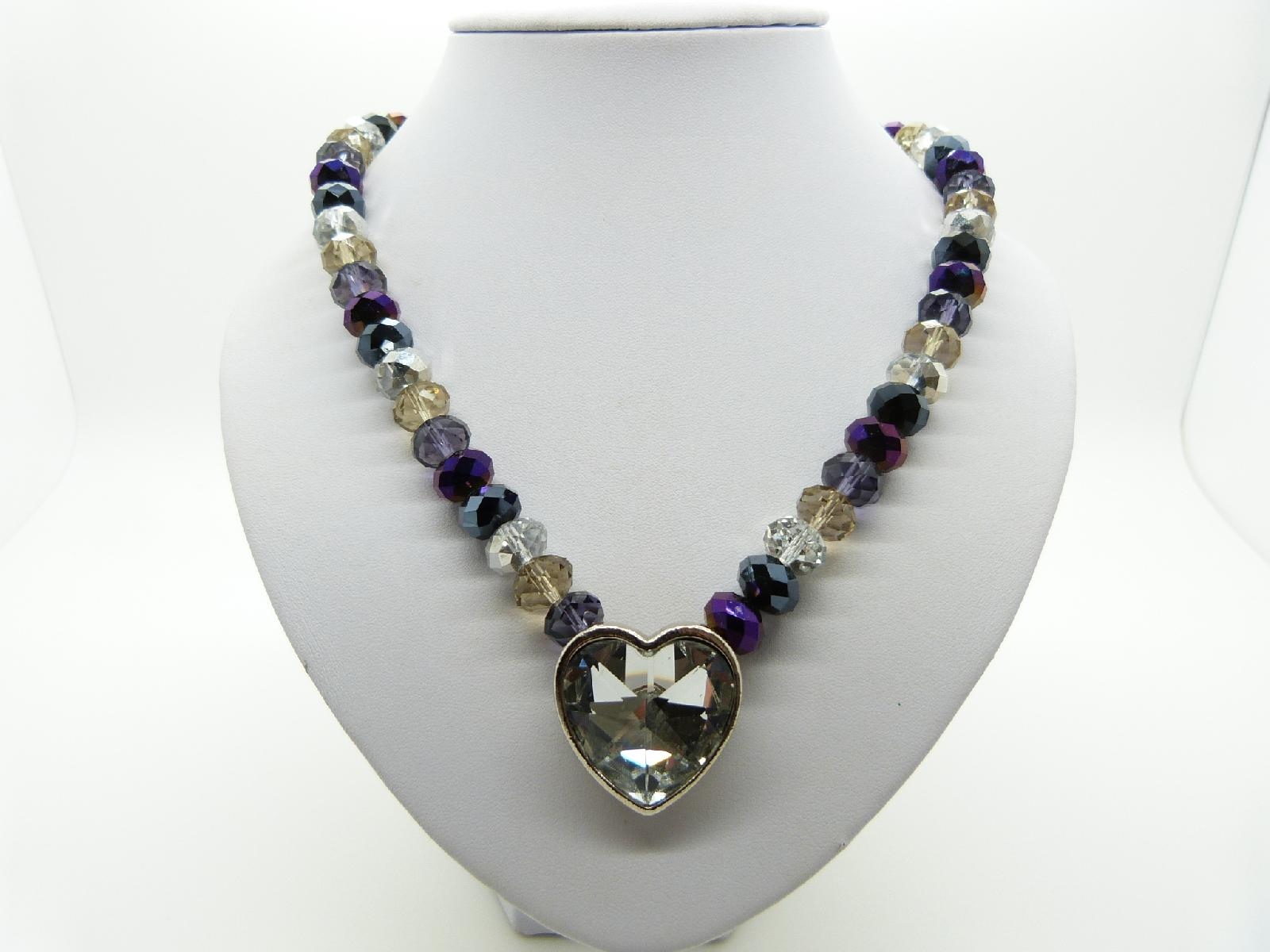 Multicoloured Crystal Glass Bead Necklace with Heart Shaped Crystal Pendant