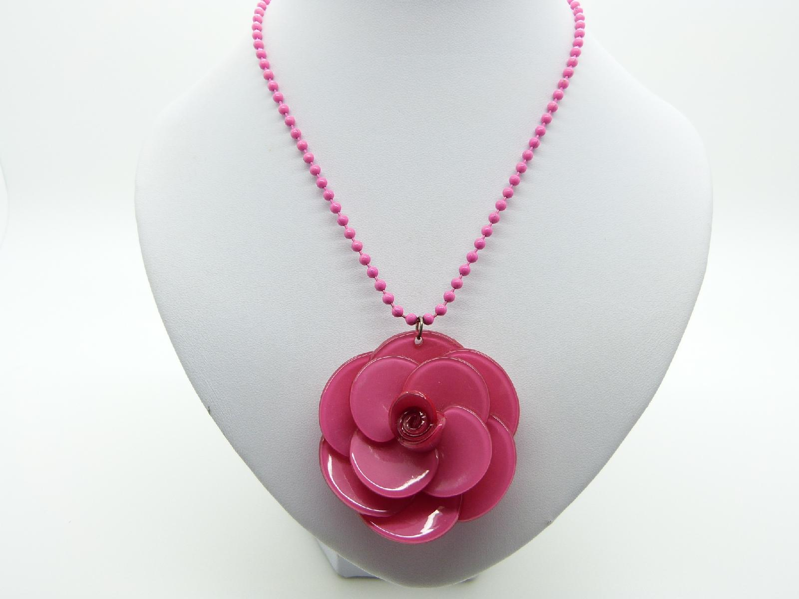 Fabulous Genuine Big Baby Bright Cerise Pink 3D Rose Pendant Necklace