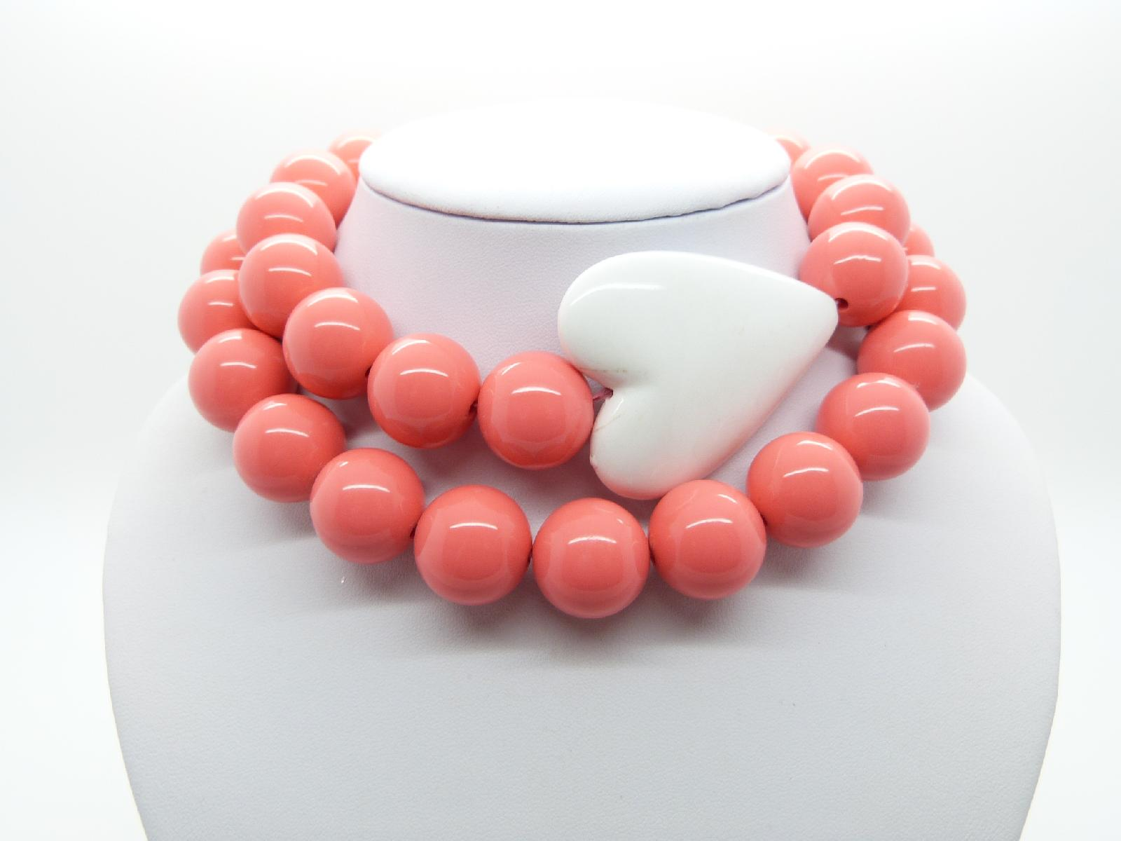 Fab Chunky Long Coral Plastic Bead Necklace Large White Heart Feature 84cms