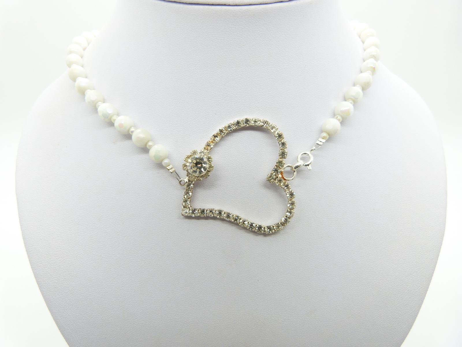 Vintage Redesigned 50s White AB Glass Bead Necklace with Large Diamante Heart