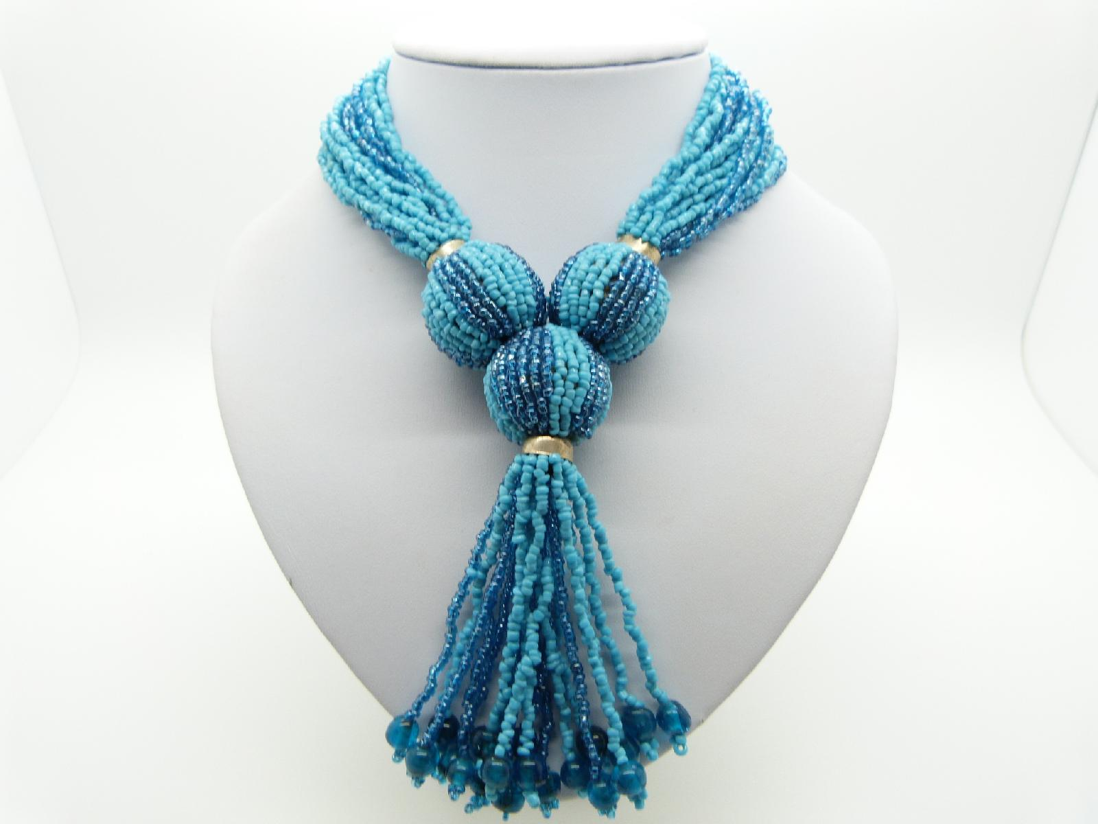 Stunning Turquoise Glass Seed Bead Multi Strand Tassel Statement Necklace