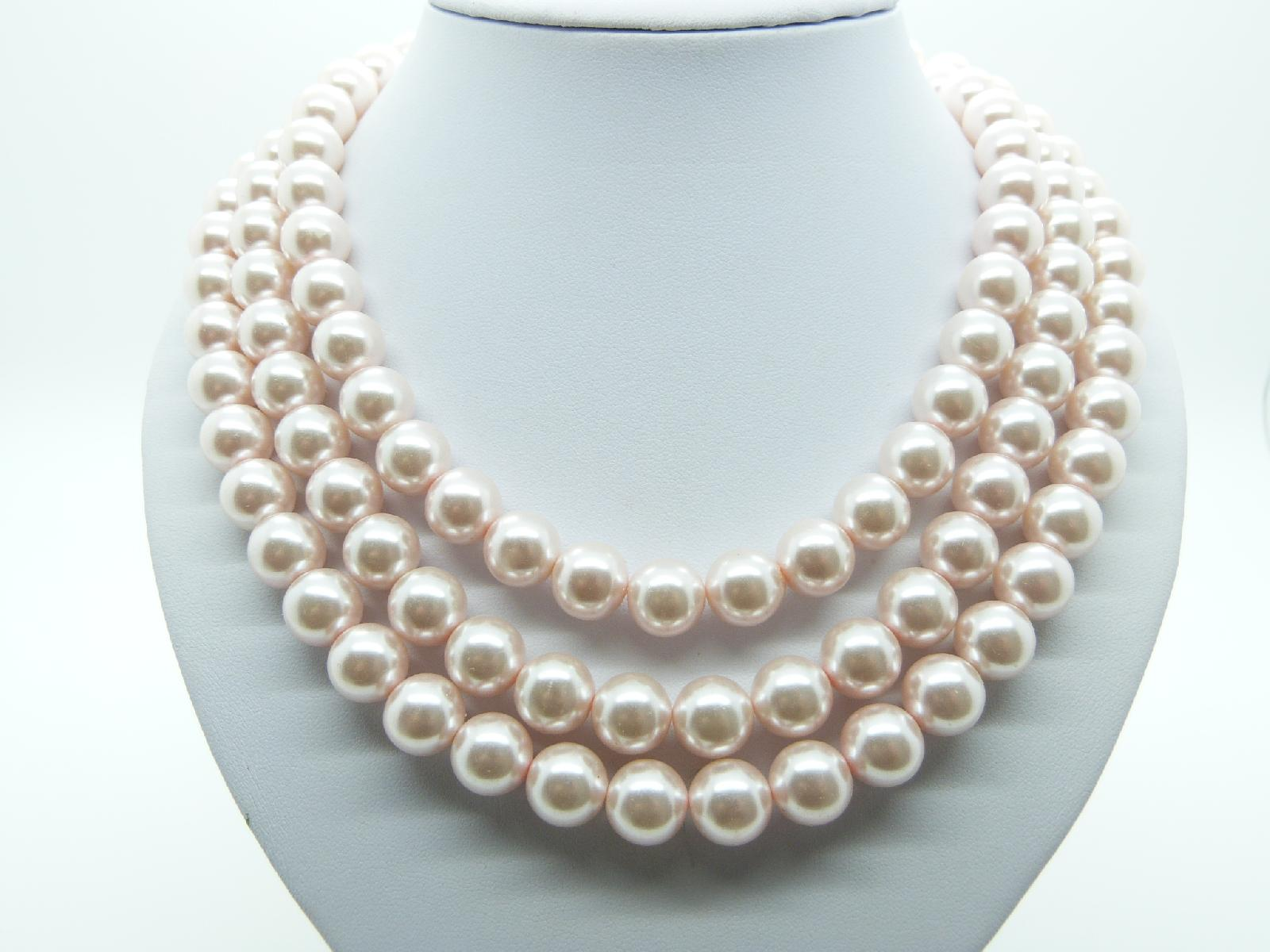£24.00 - Vintage 80s Heavy Pink Faux Pearl Glass Bead Endless Necklace 76cms!