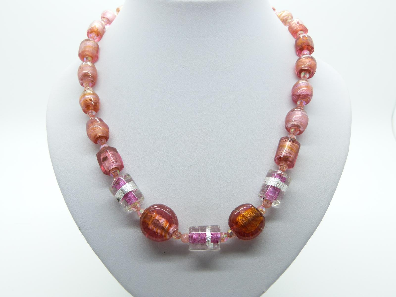 Vintage Inspired Pink and Orange Murano Glass Bead Necklace One Off Piece!