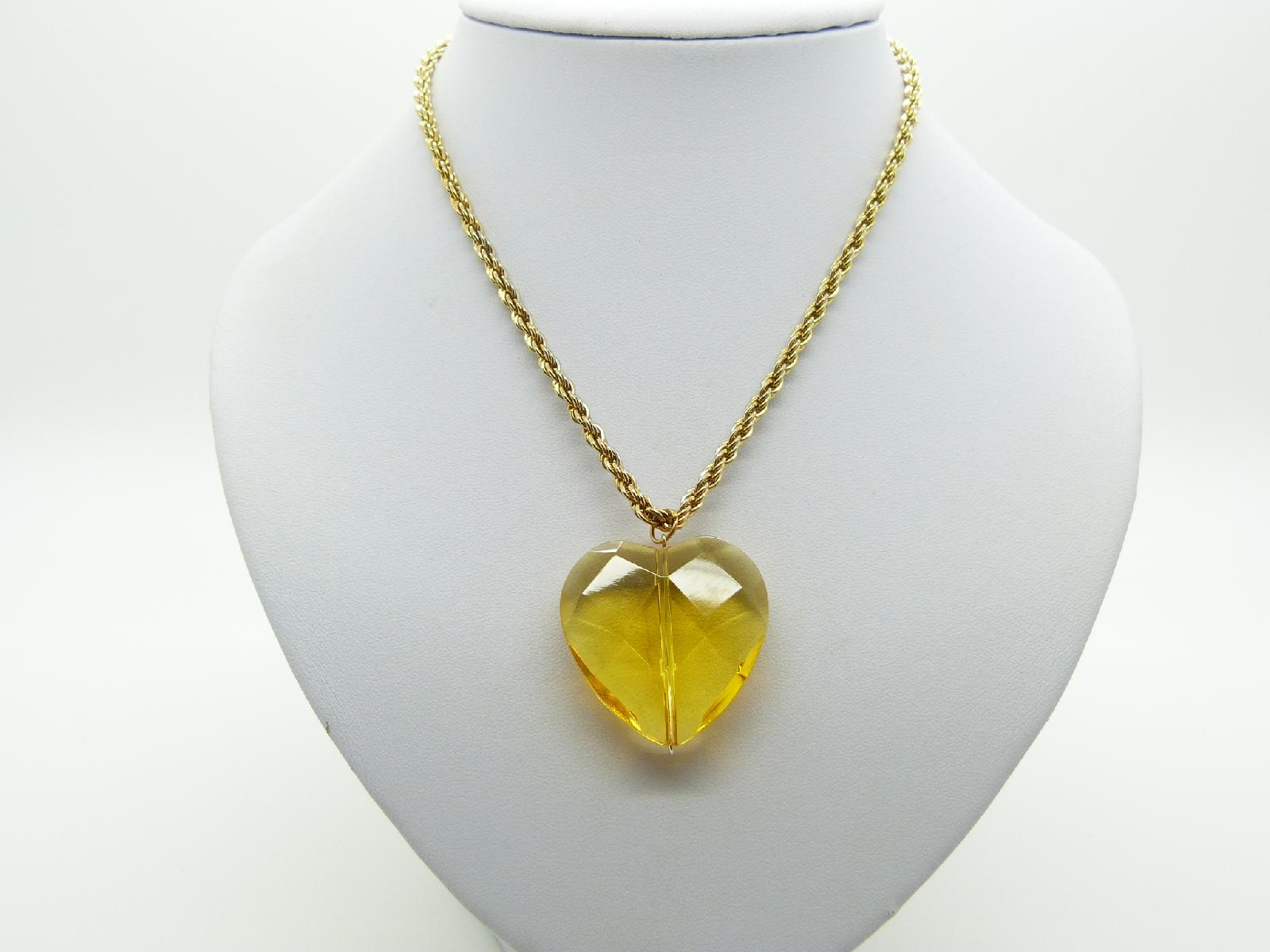 Vintage 80s Large Citrine Crystal Glass Heart Pendant and Gold Plated Chain