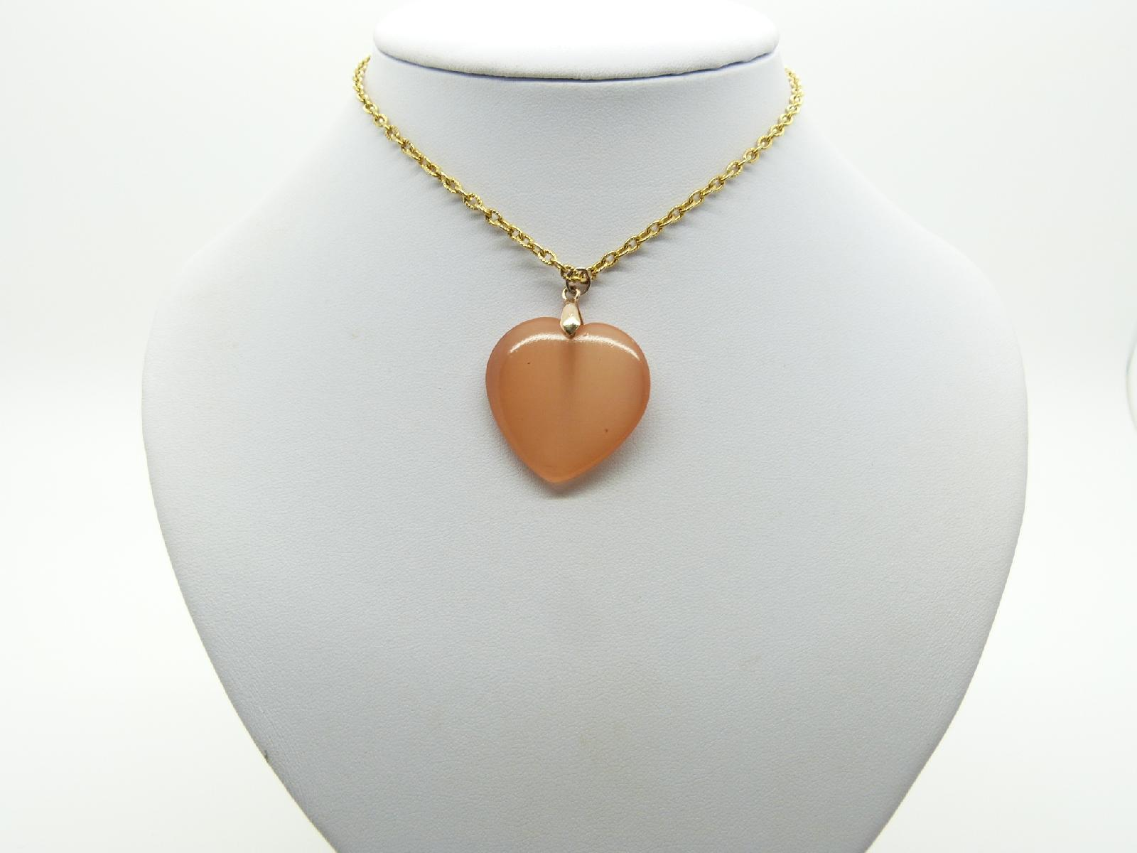 Vintage 80s Peach Coloured Moonglow Glass Heart Pendant with Gold Chain