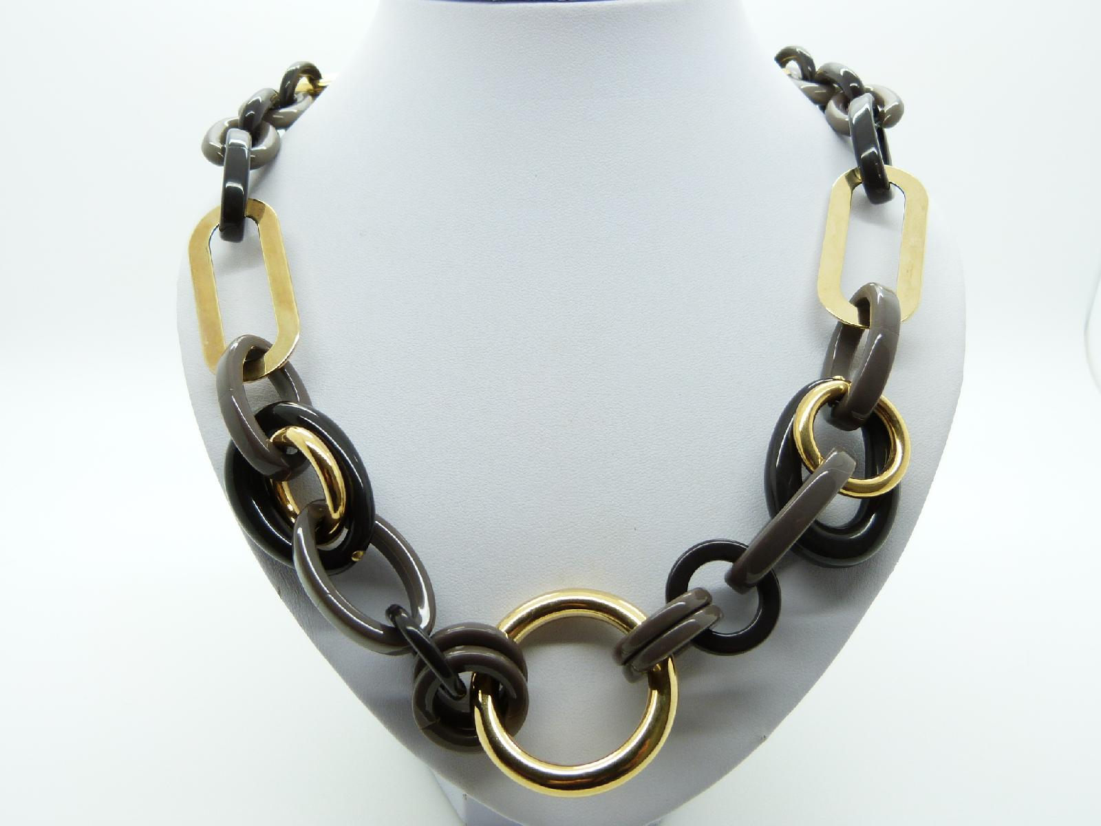 £25.00 - Signed Precis Chunky Brown Plastic Gold Chain Link Necklace Made In Italy