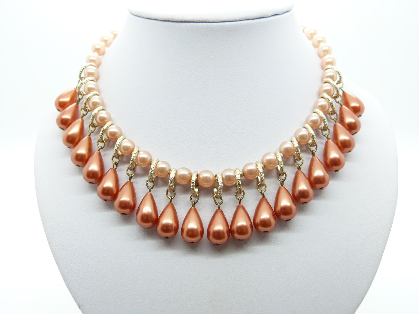 Vintage 50s Pretty Pink and Peach Dangle Drop Faux Pearl Bead Necklace