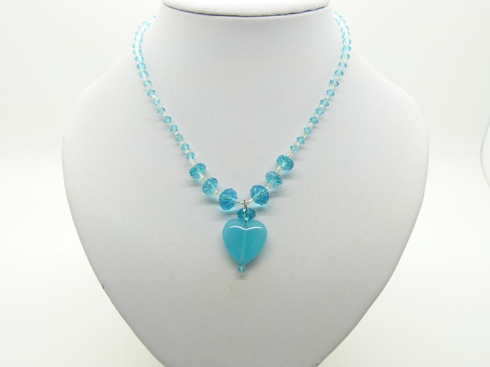 Vintage Redesigned Aqua Blue Crystal Bead Necklace Glass Heart Pendant