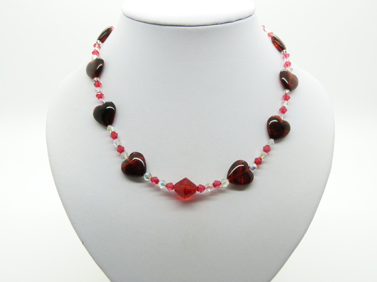 £6.00 - Vintage Redesigned Red and Clear Crystal Glass Red Heart Bead Necklace