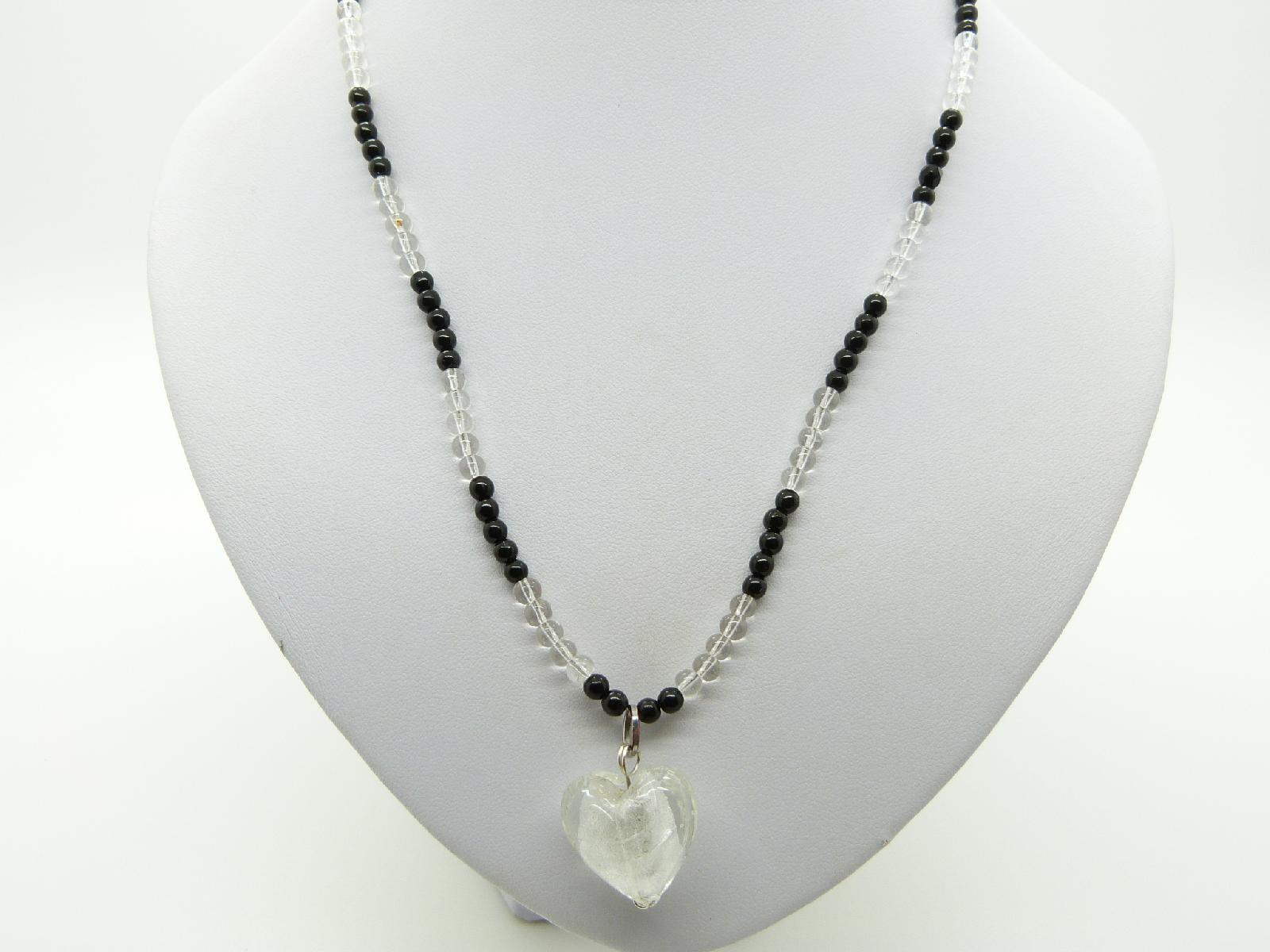 Vintage Redesigned Black and Clear Glass Bead Necklace White Heart Pendant